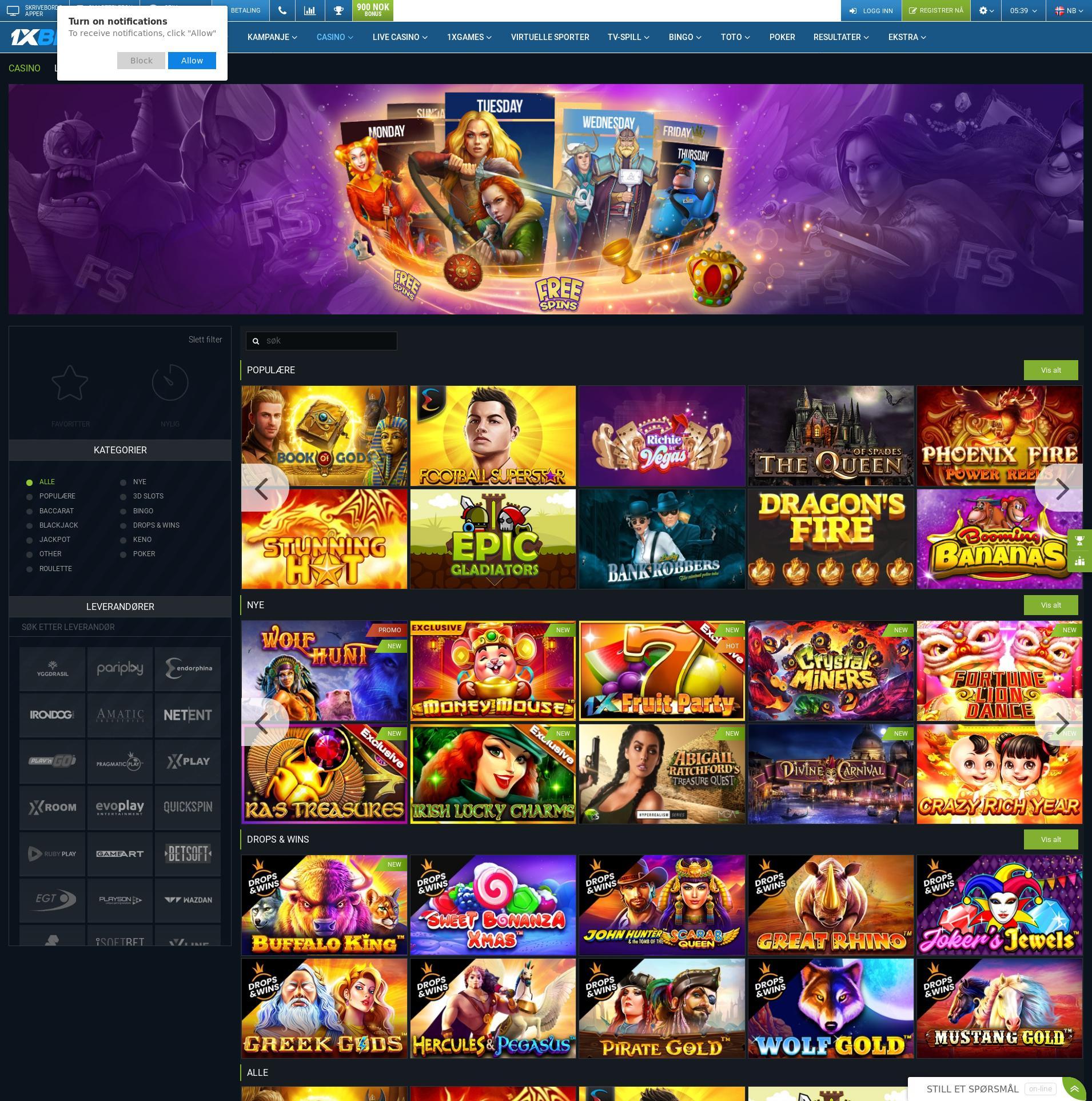 Casino Bildschirm Lobby 2020-01-22 zum Norwegen