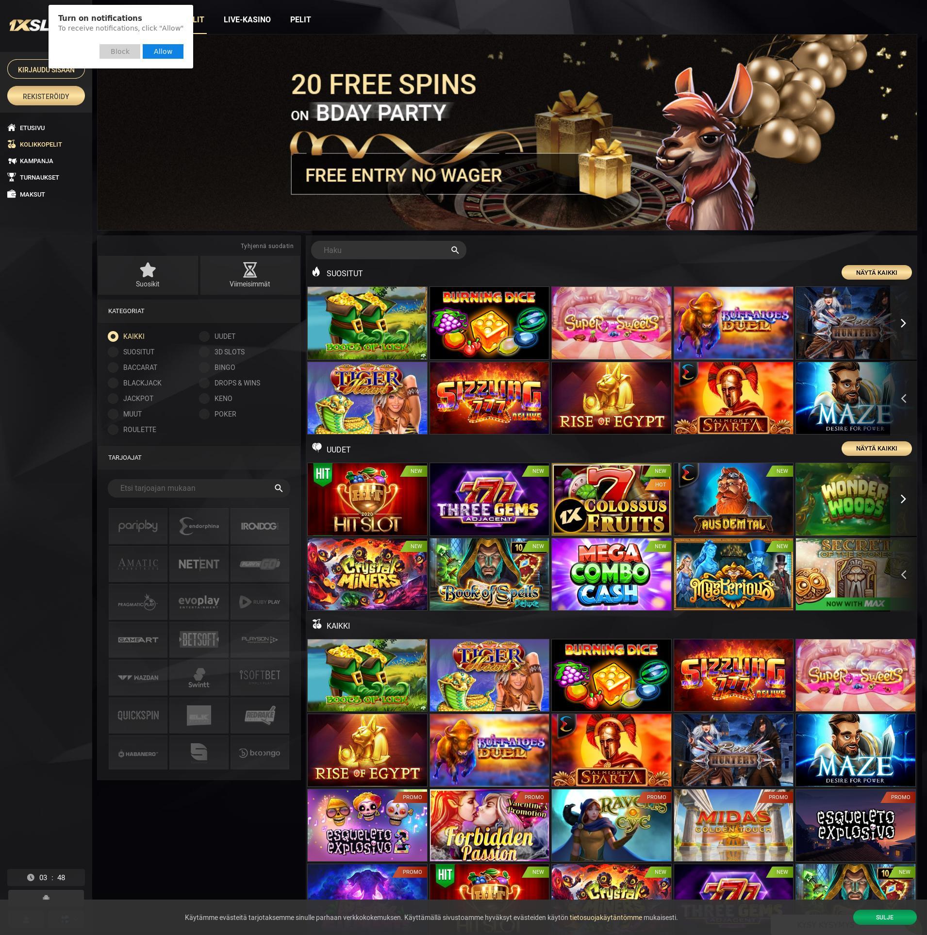 Casino-näyttö Lobby 2020-02-22 varten Suomi