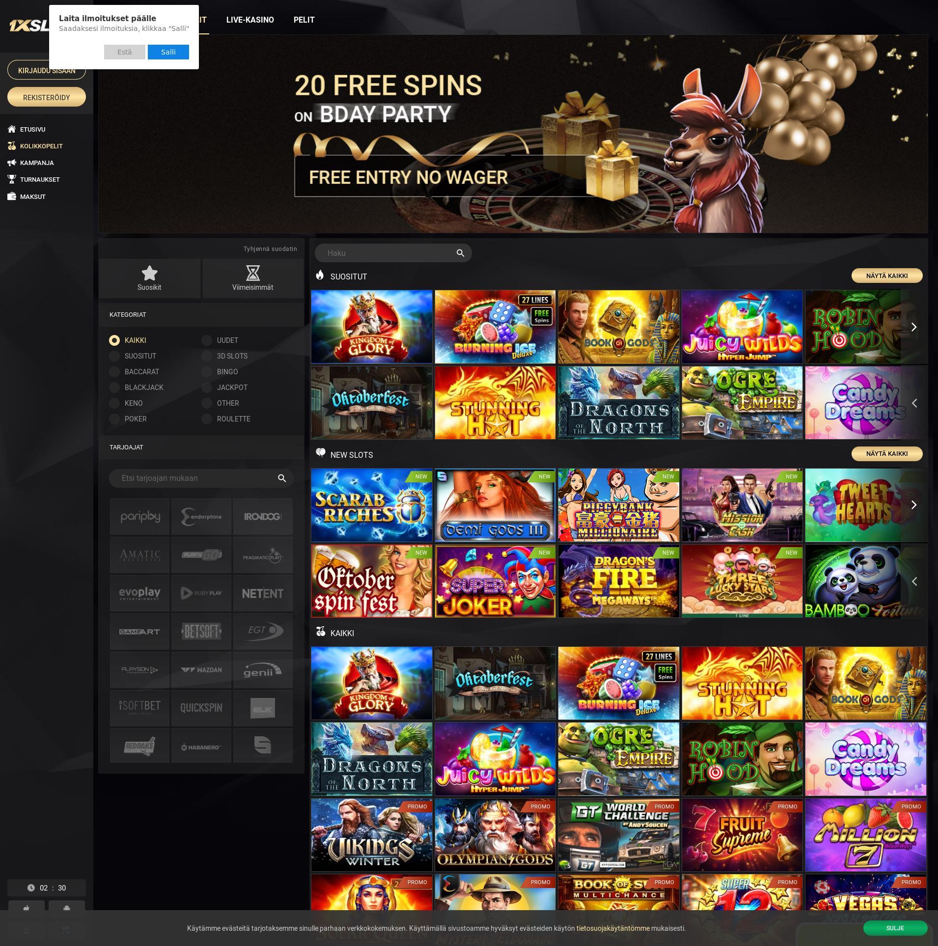 Casino-näyttö Lobby 2019-09-21 varten Suomi
