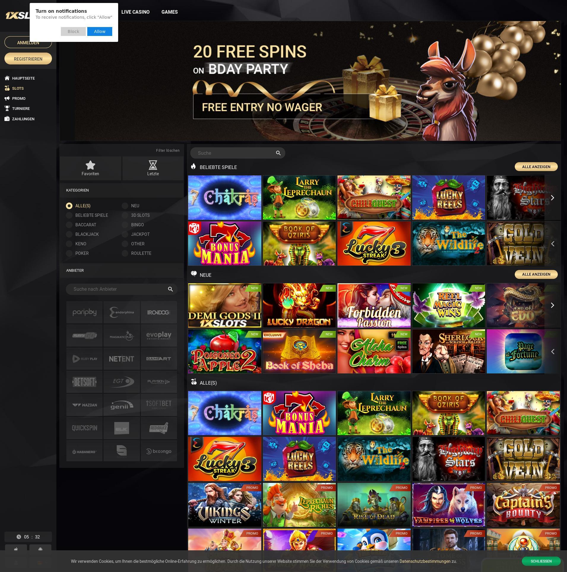 Casino Bildschirm Lobby 2019-10-20 zum Deutschland