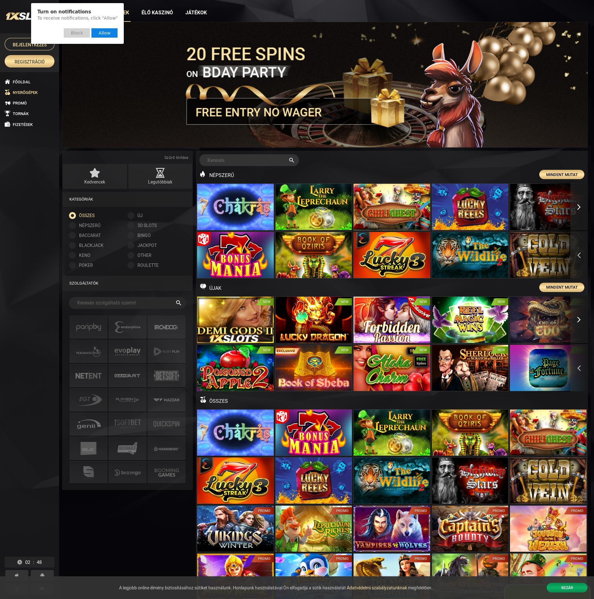 Casino screen Lobby 2019-10-21 for Hungary