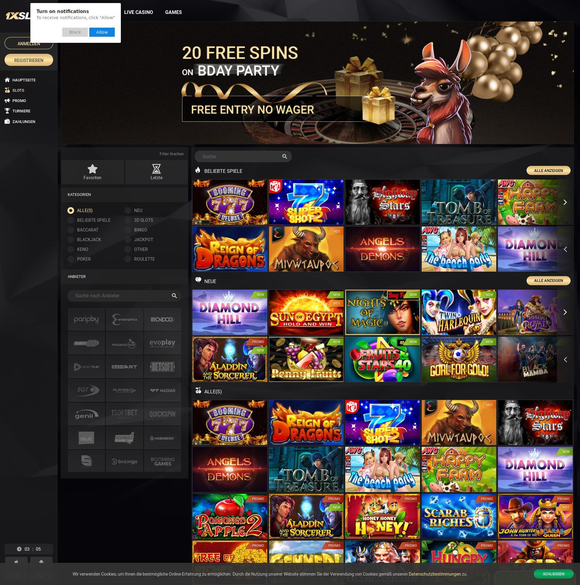 Casino screen Lobby 2019-11-15 for Germany