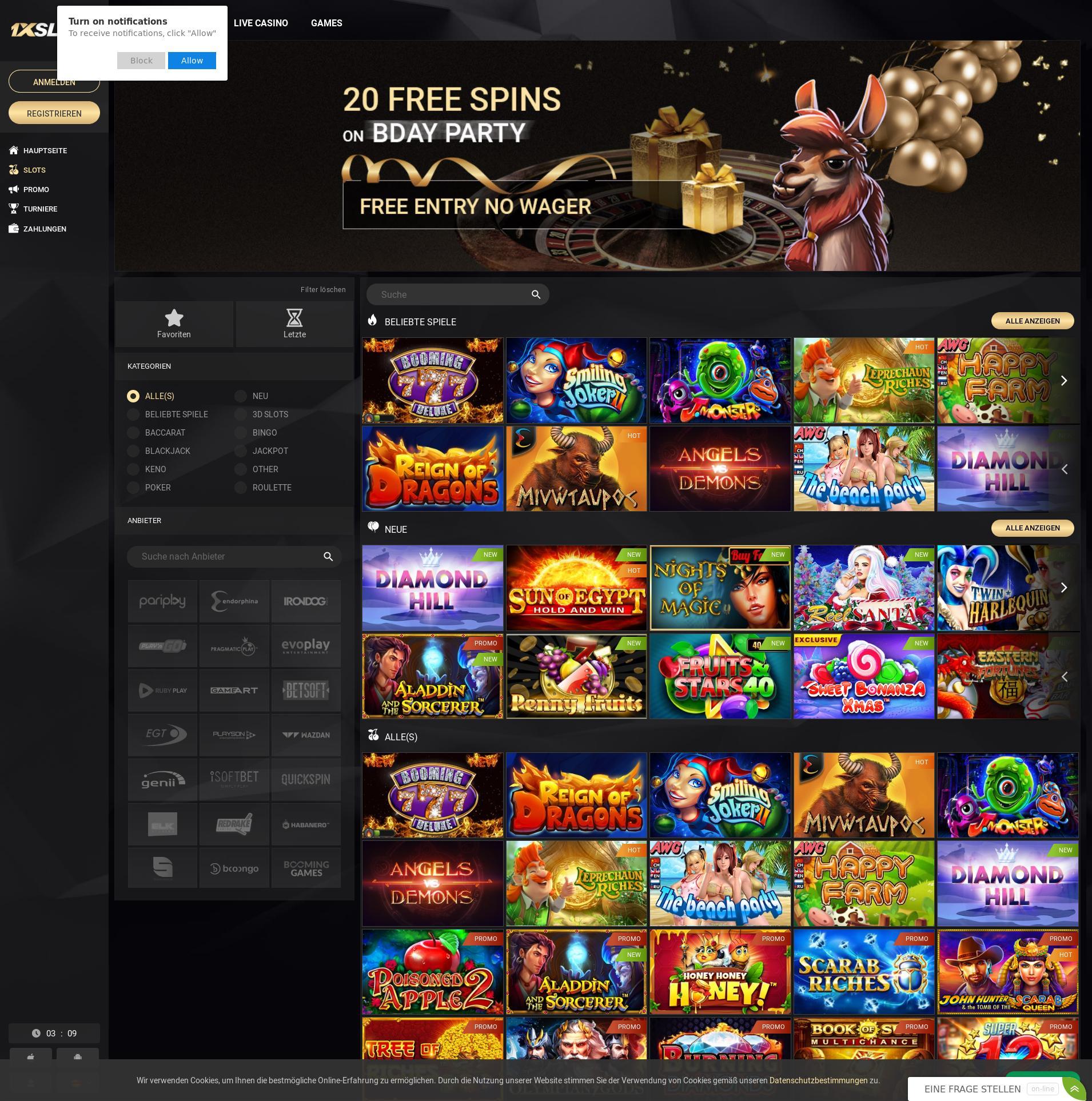 Casino Bildschirm Lobby 2019-11-21 zum Deutschland