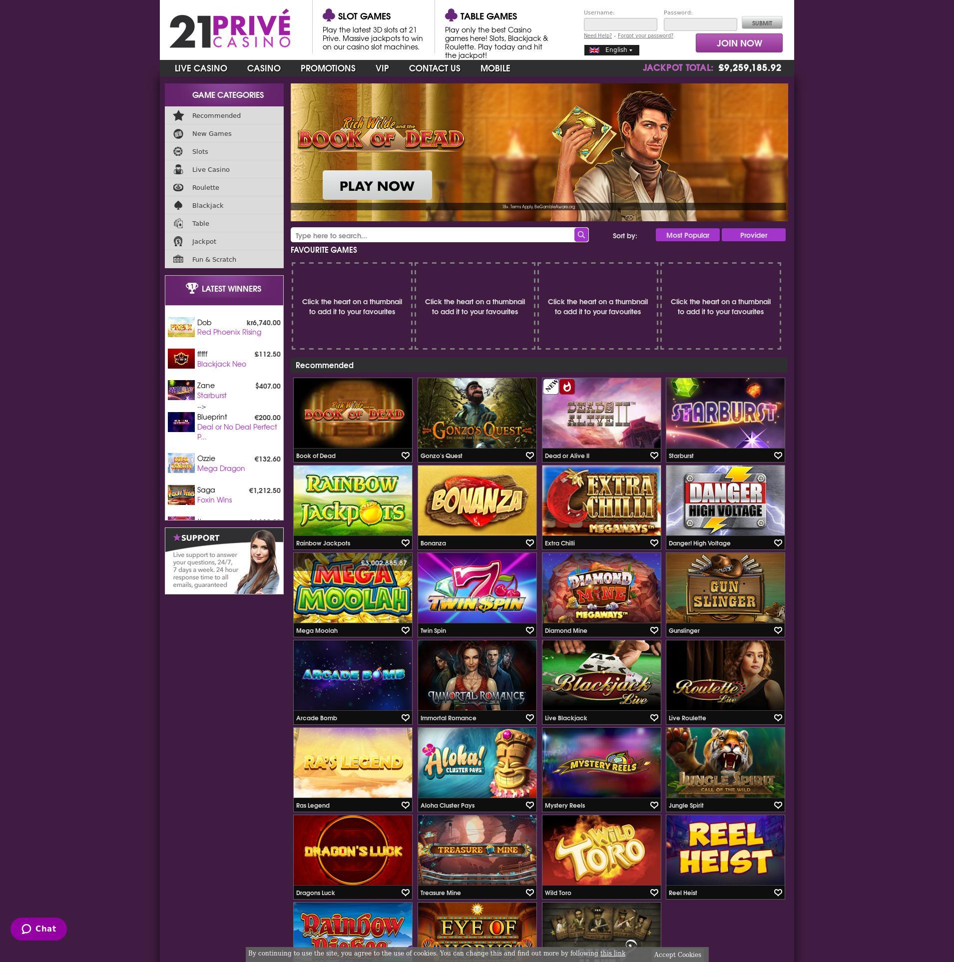 Casino screen Lobby 2019-08-19 for United Kingdom