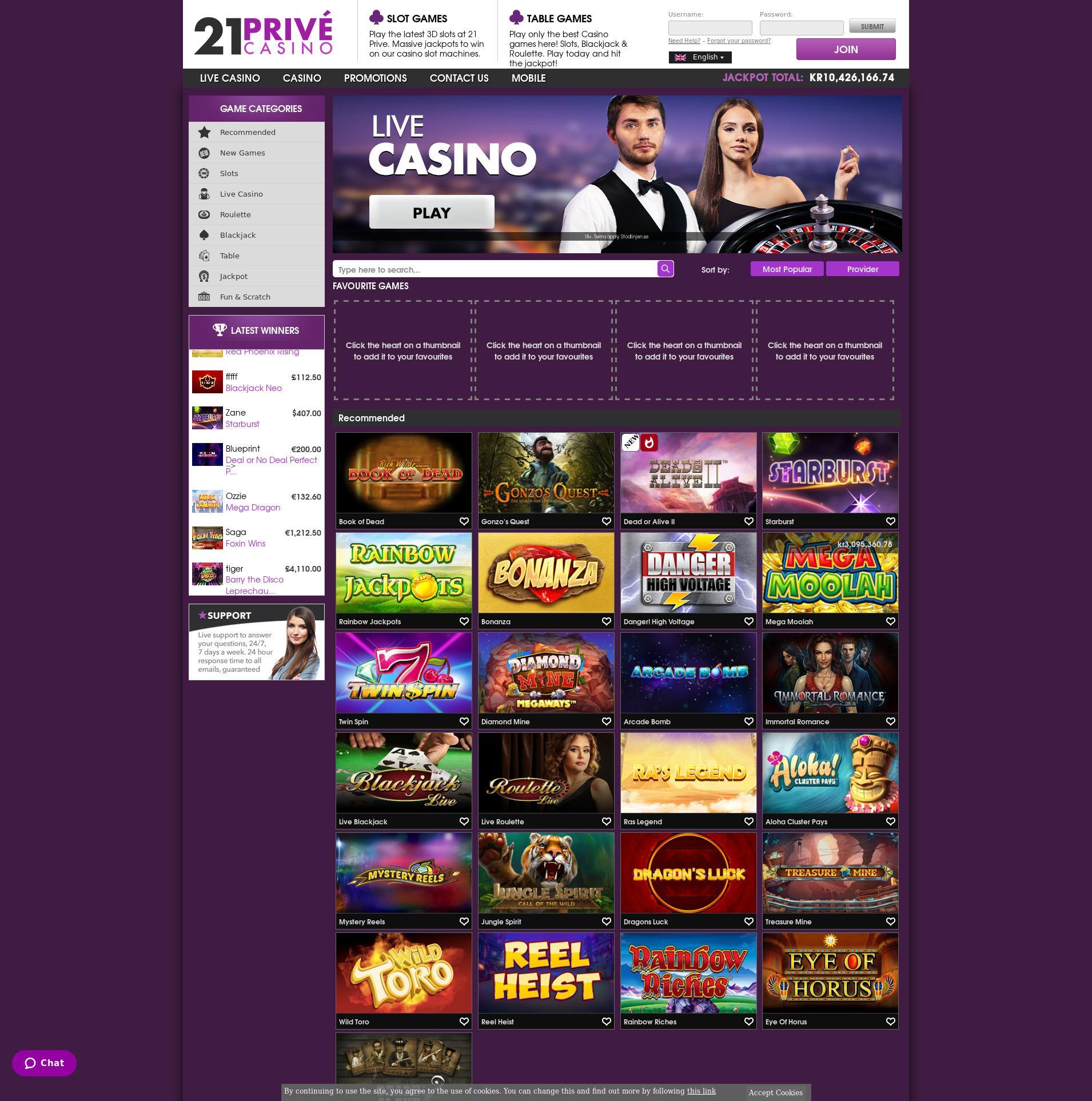 Casino skärm Lobby 2019-08-20 för Sverige