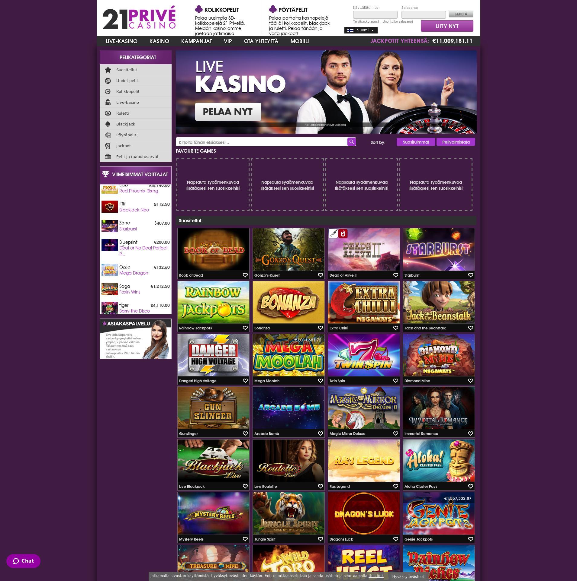 Casino-näyttö Lobby 2019-10-21 varten Suomi