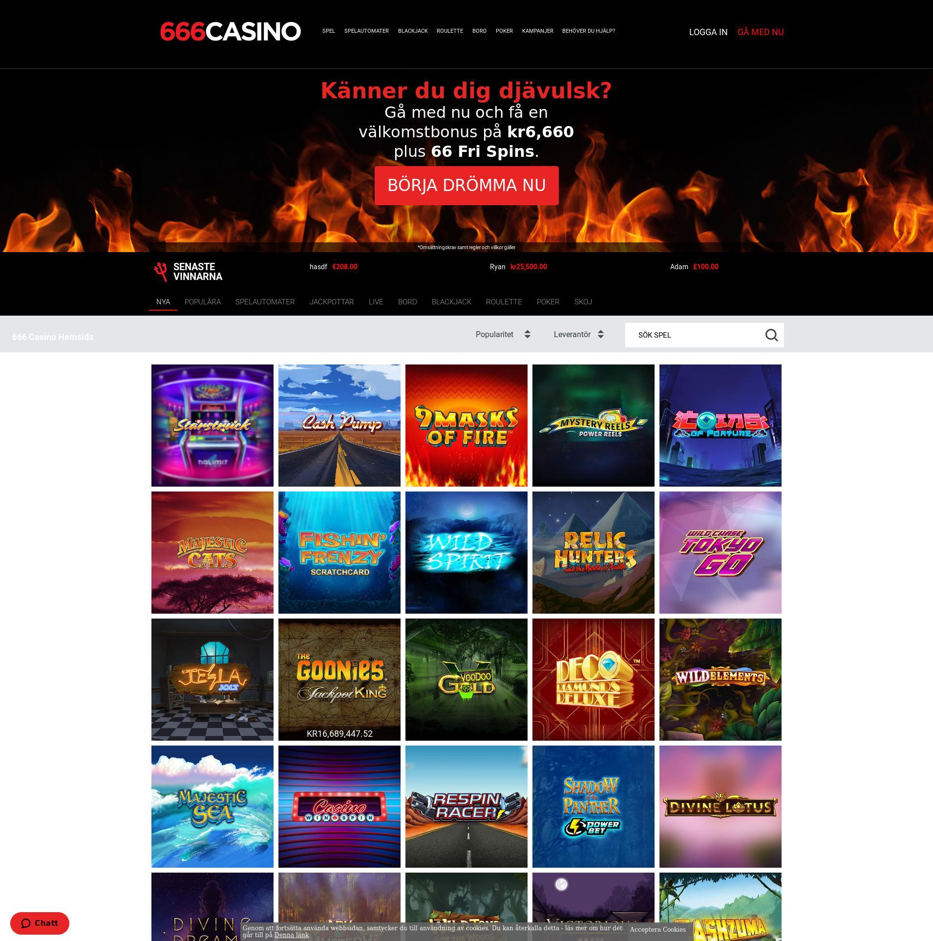 Casino skjerm Lobby 2019-10-19 til Sverige