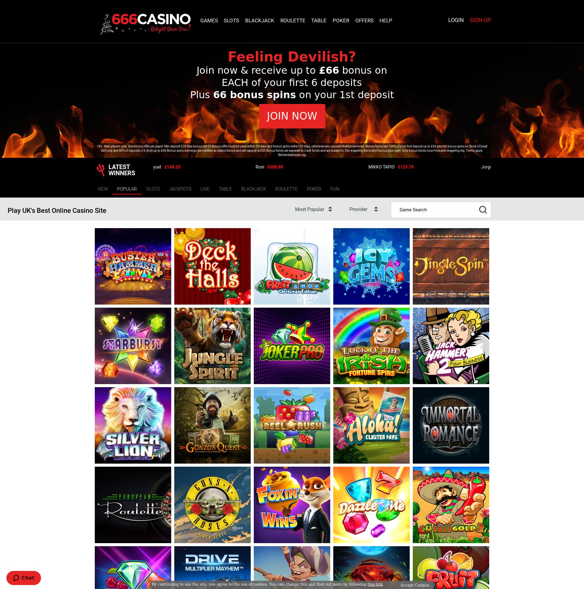 Casino screen Lobby 2019-12-12 for United Kingdom