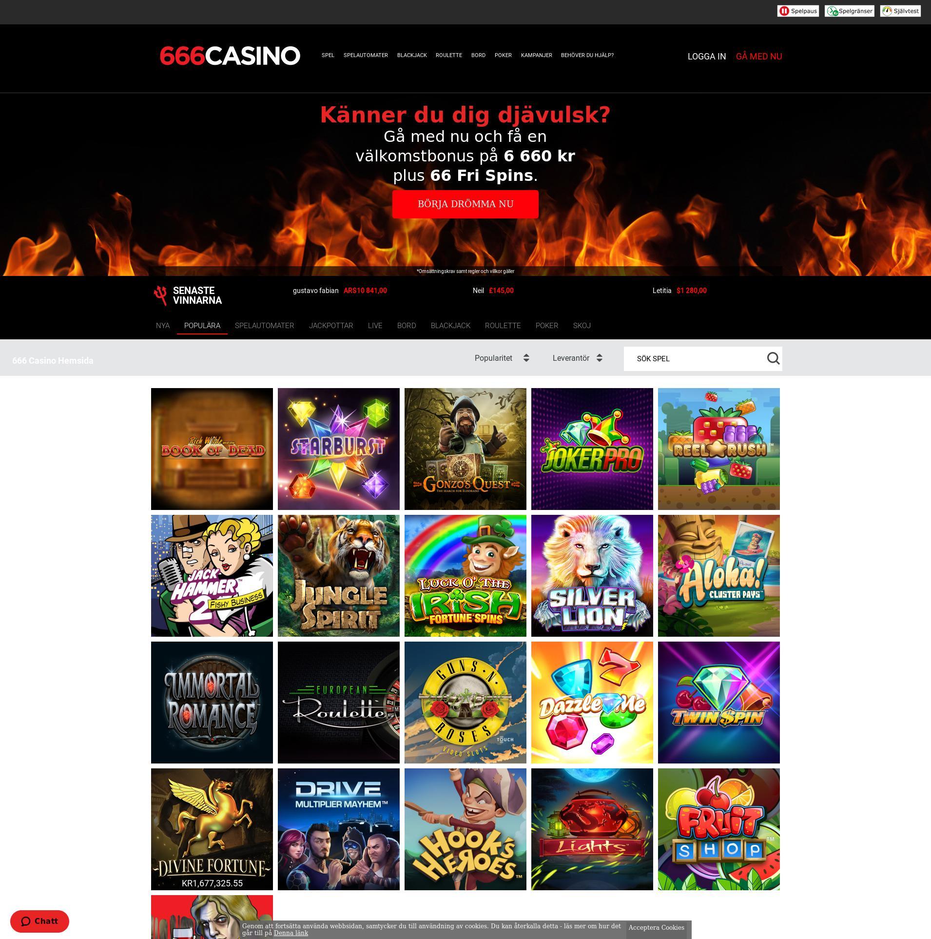 Casino skjerm Lobby 2020-06-01 til Sverige
