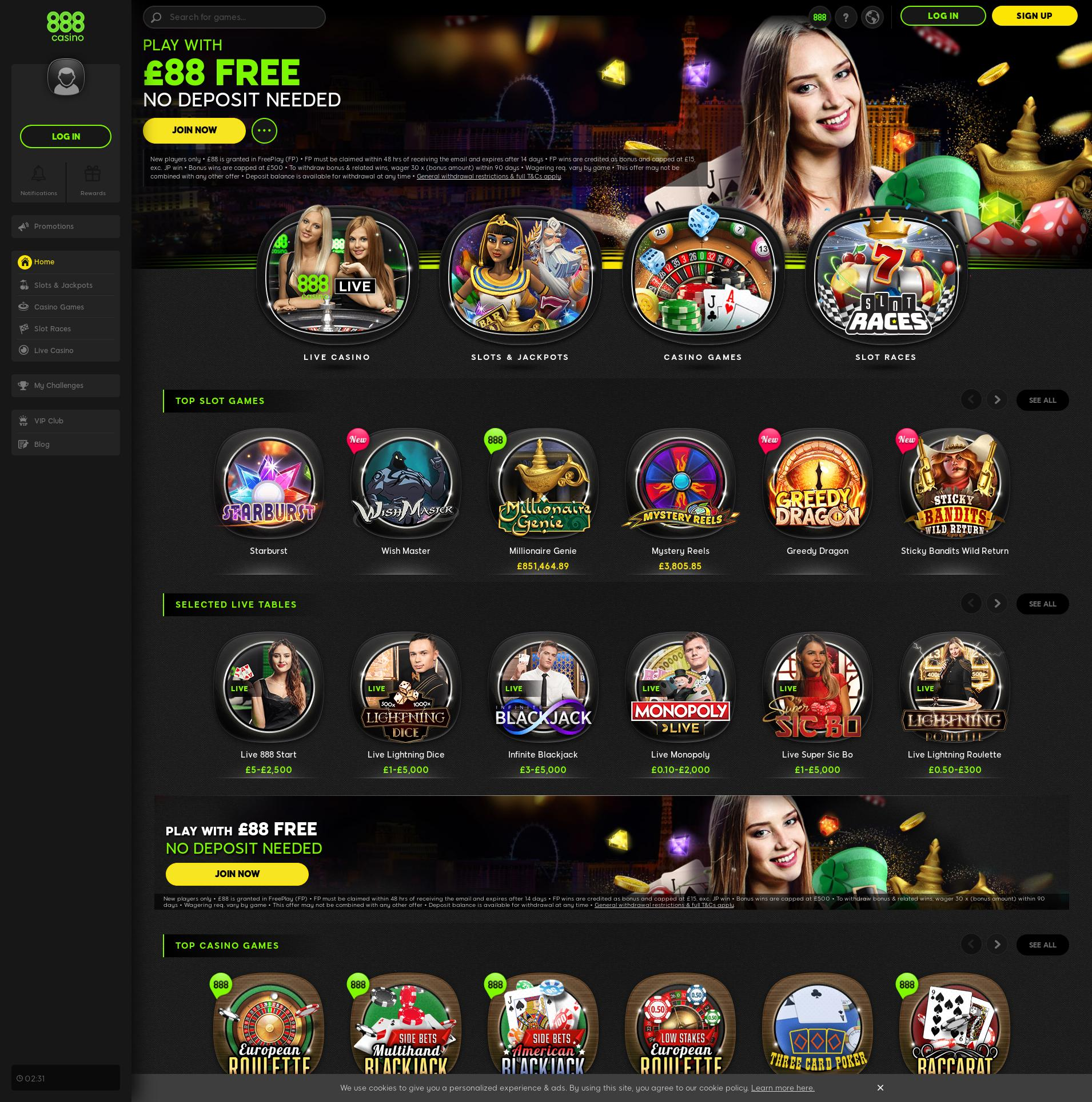 Casino screen Lobby 2019-09-20 for United Kingdom