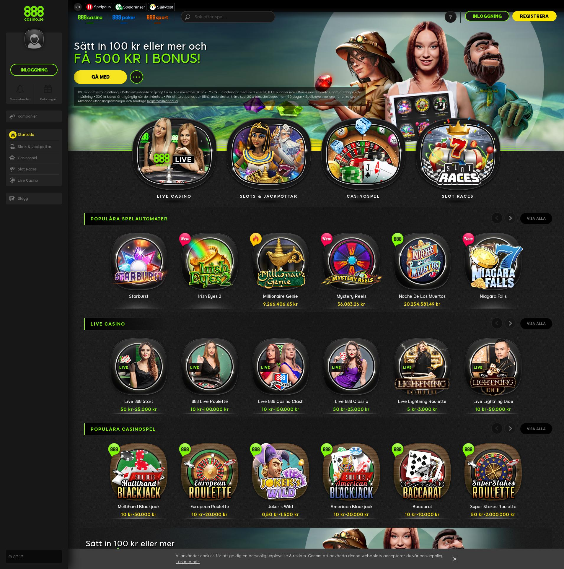 Casino screen Lobby 2019-11-13 for Sweden