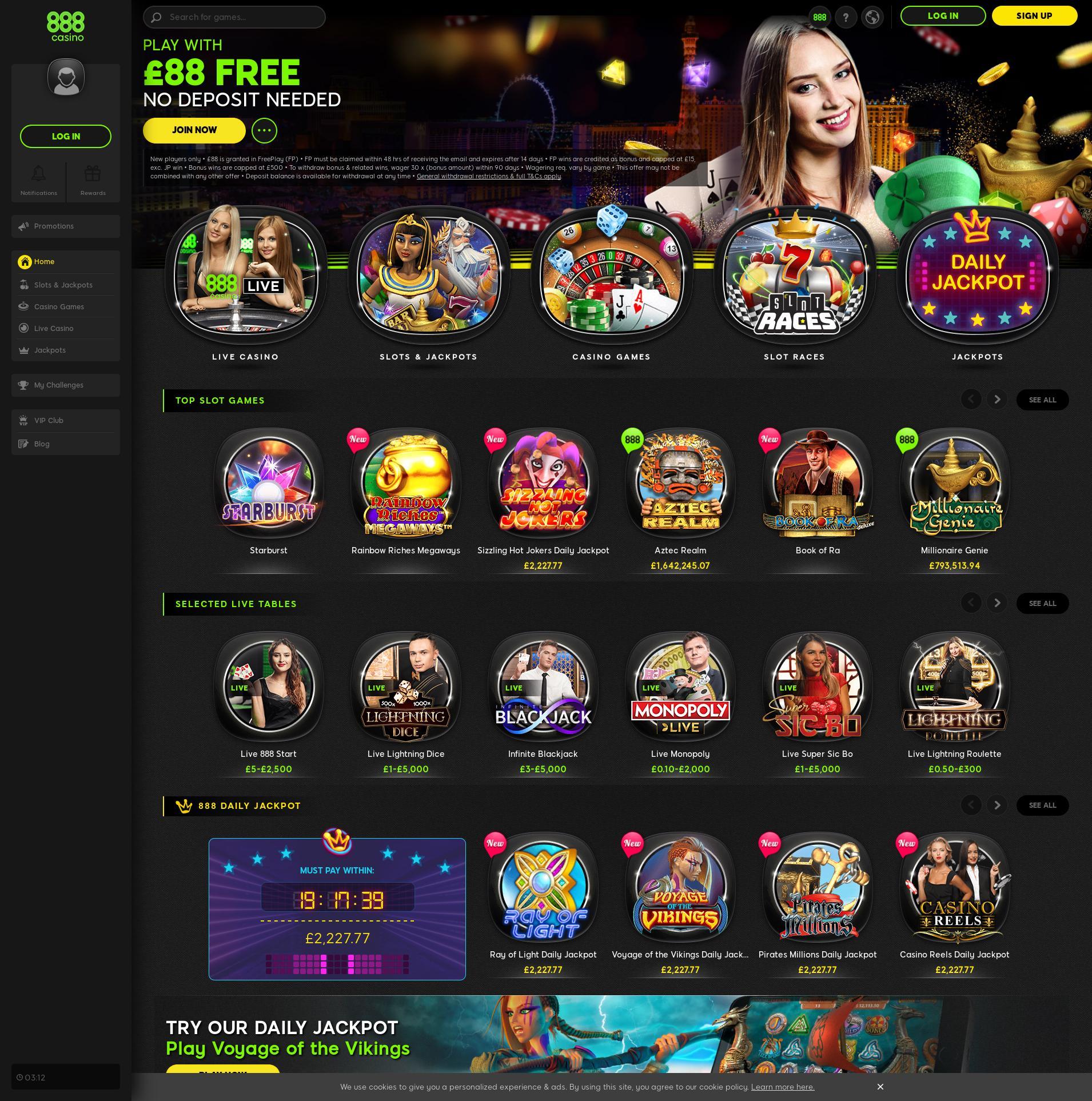 Casino screen Lobby 2019-11-20 for United Kingdom