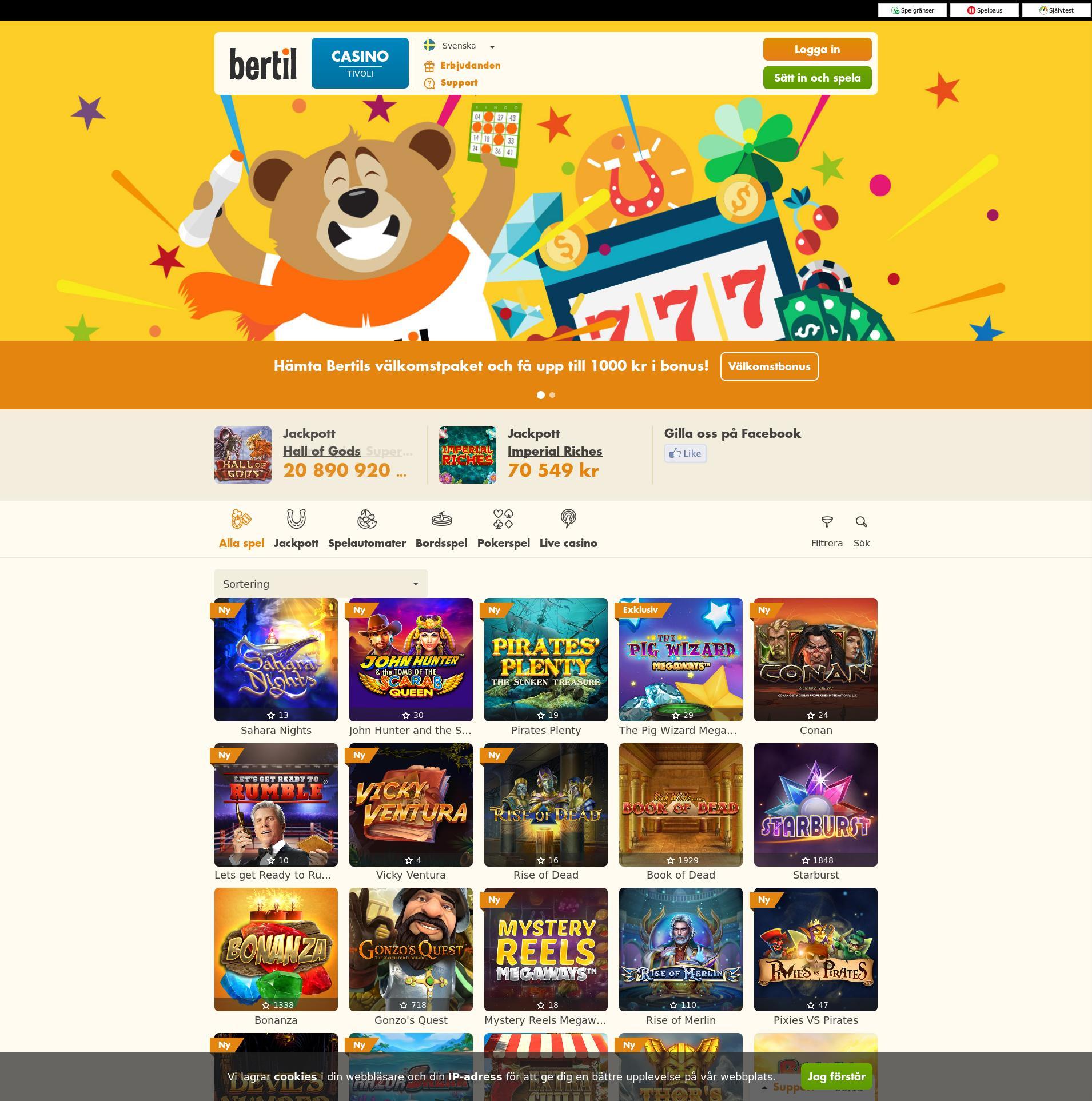 Casino skärm Lobby 2019-10-16 för Sverige