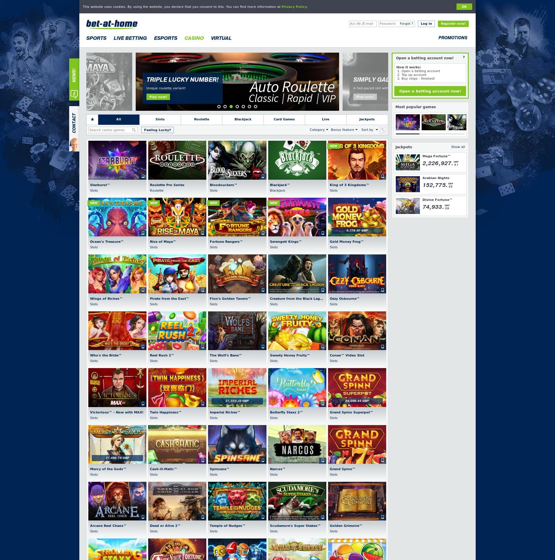 Casino screen Lobby 2020-02-28 for United Kingdom