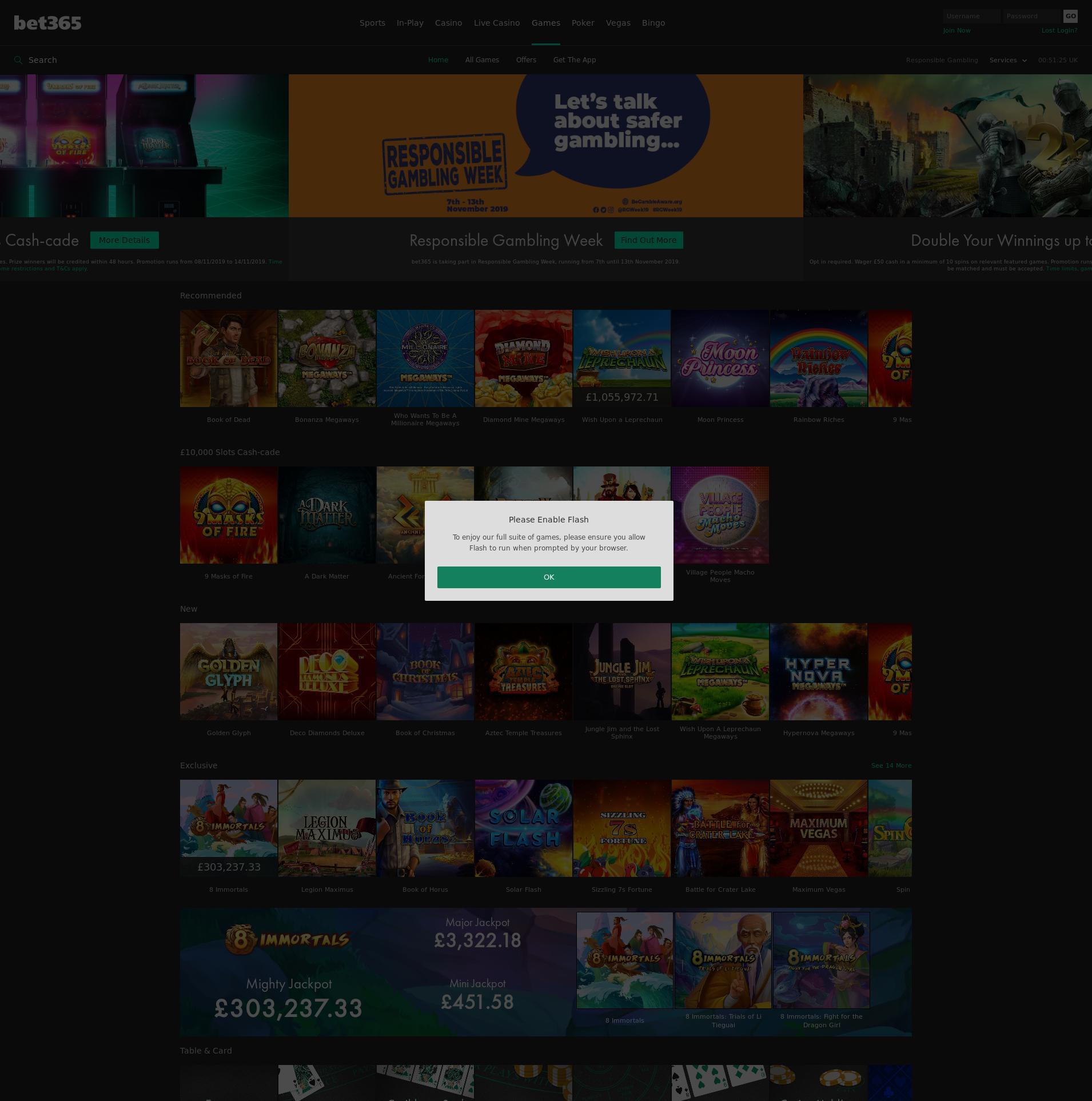 Casino screen Lobby 2019-11-13 for United Kingdom
