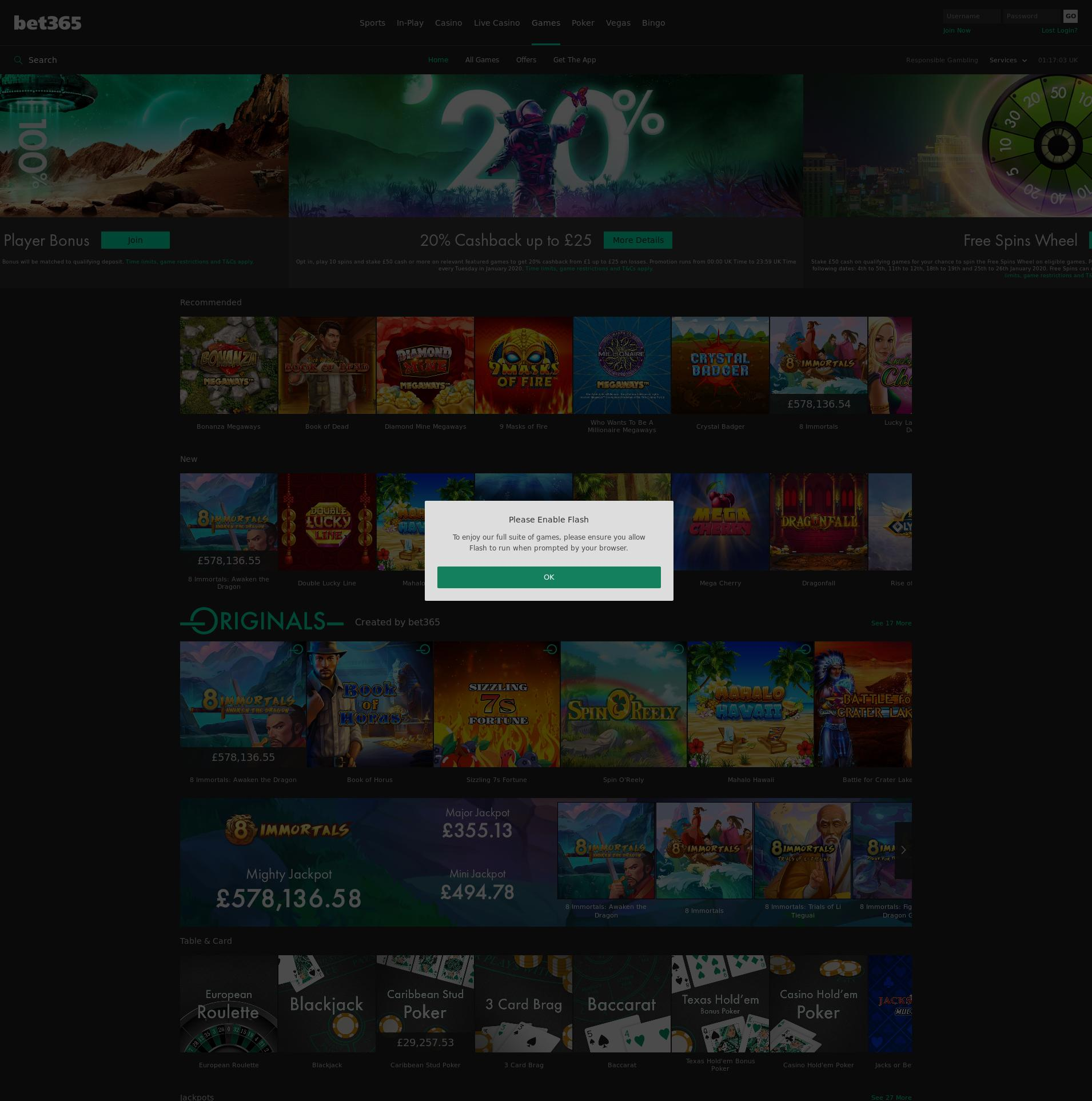 Casino screen Lobby 2020-01-17 for United Kingdom