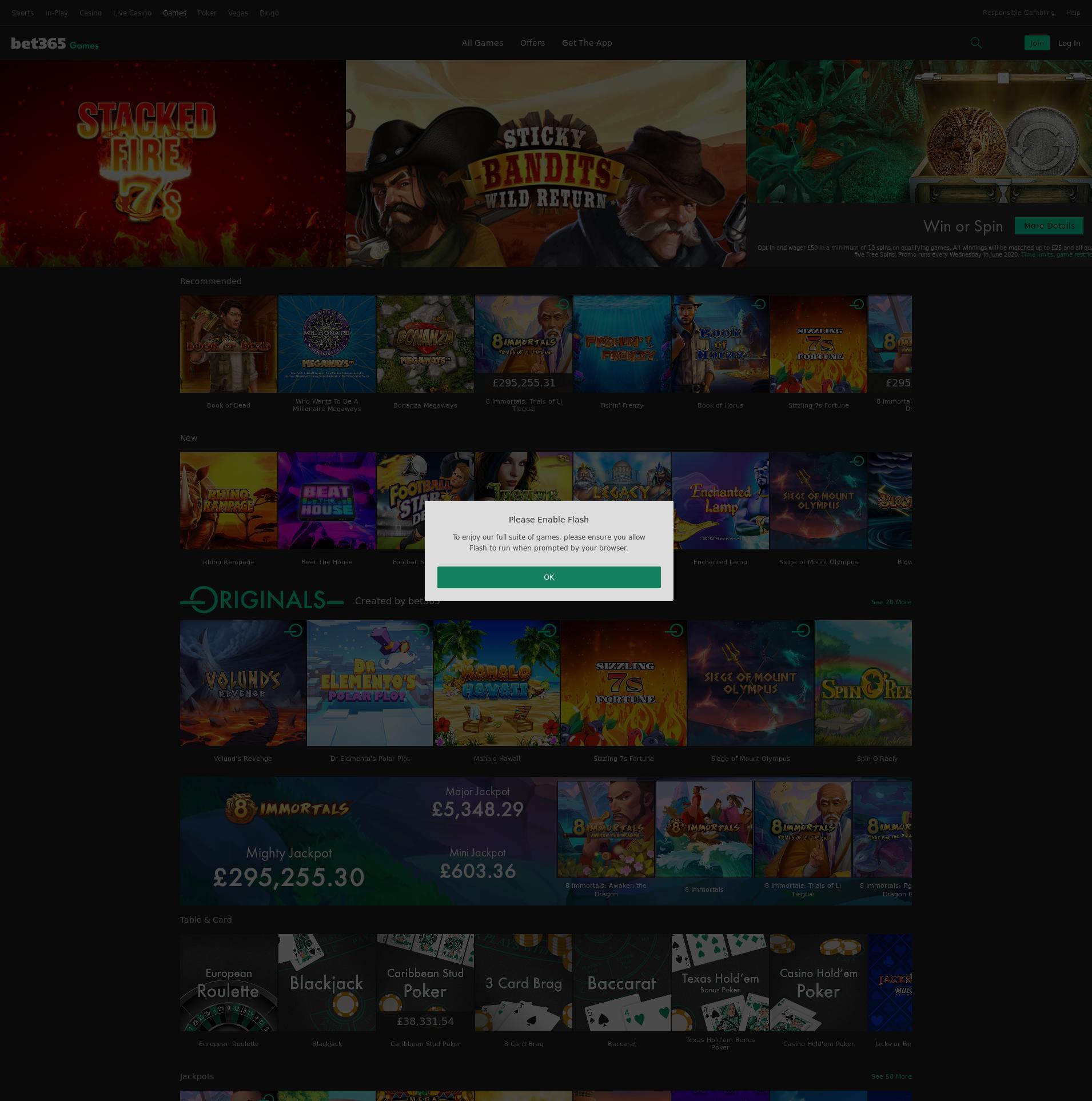 Casino skjerm Lobby 2020-06-03 til Storbritannia