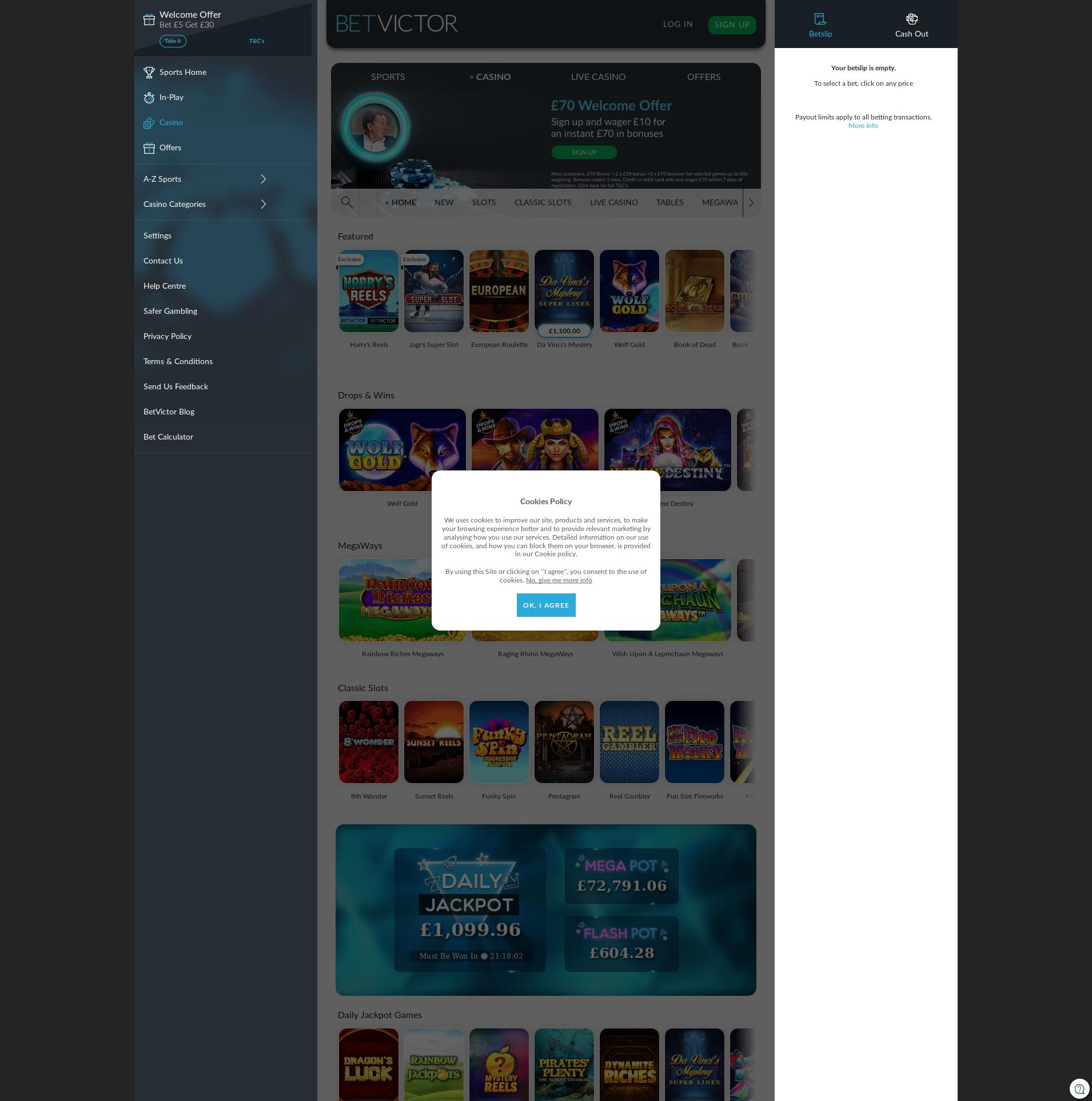 Casino screen Lobby 2019-11-22 for United Kingdom