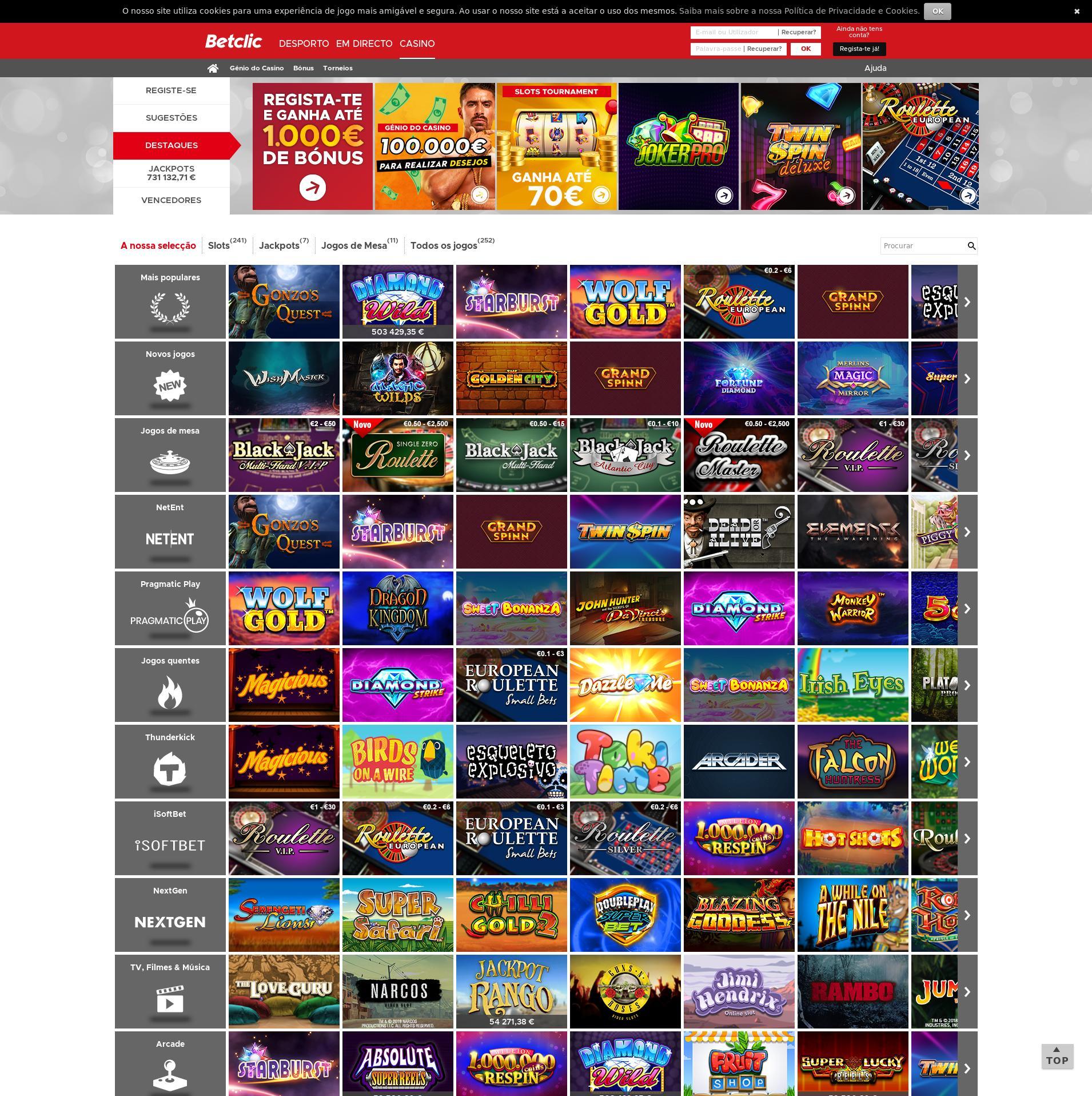 Casino skjerm Lobby 2019-08-19 til Norge