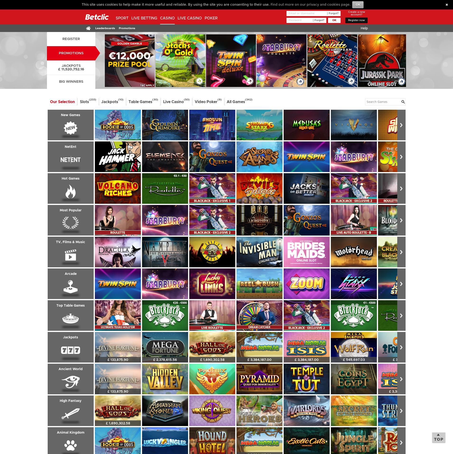 Casino screen Lobby 2019-10-18 for United Kingdom