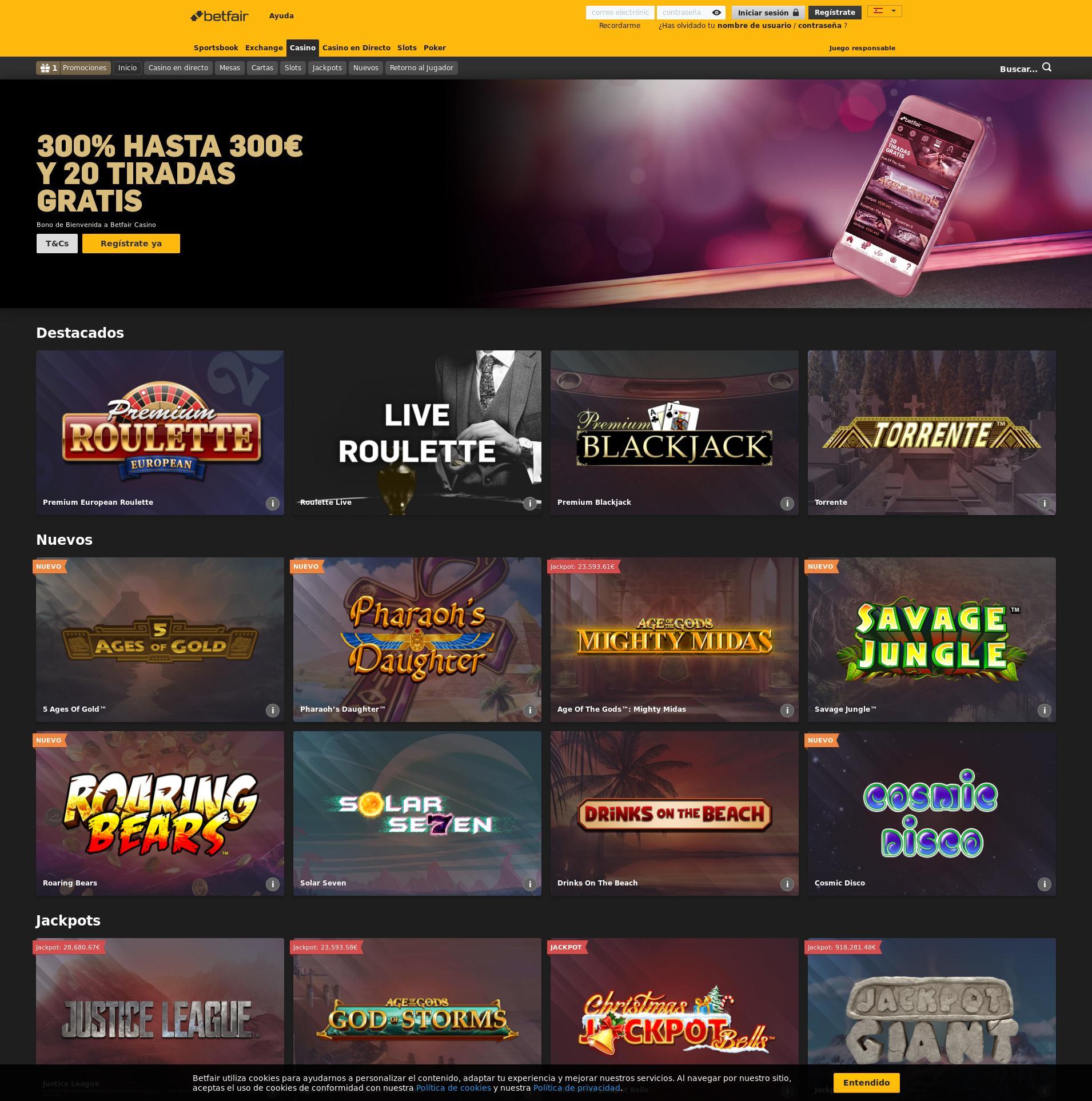 Pantalla de casino Lobby 2019-10-19 para España