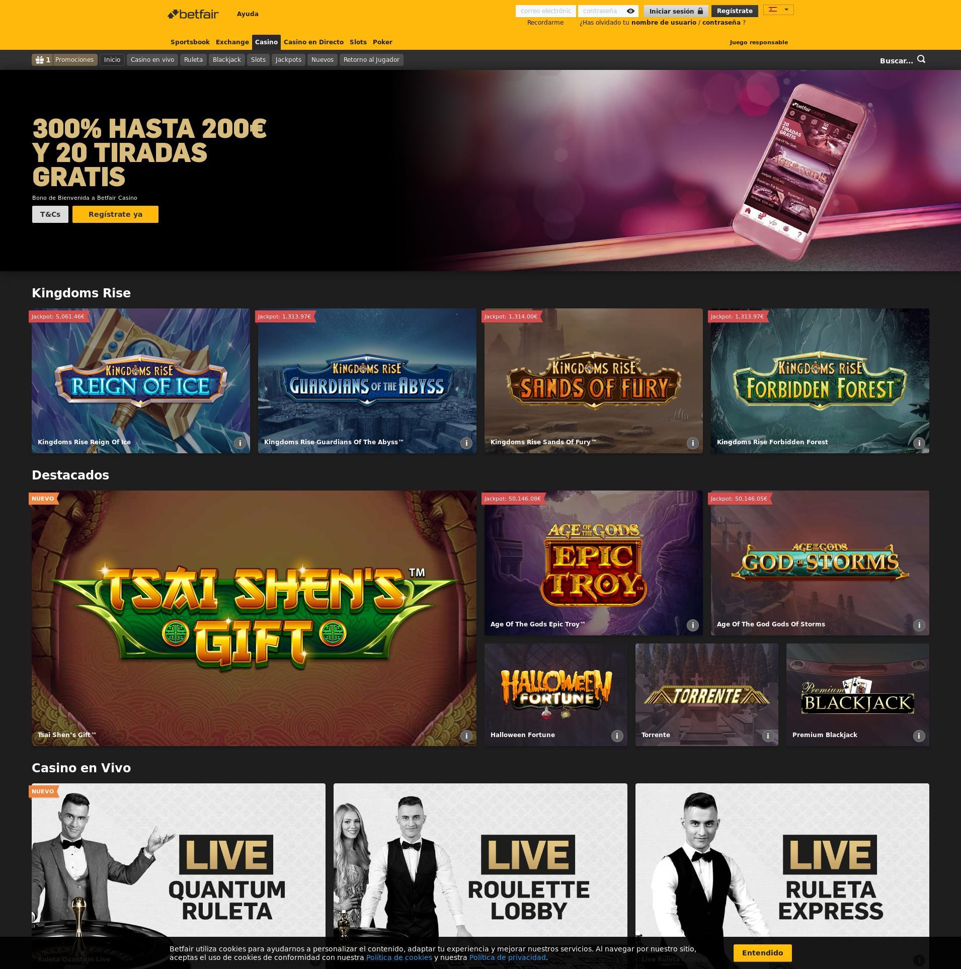 Pantalla de casino Lobby 2020-03-27 para España