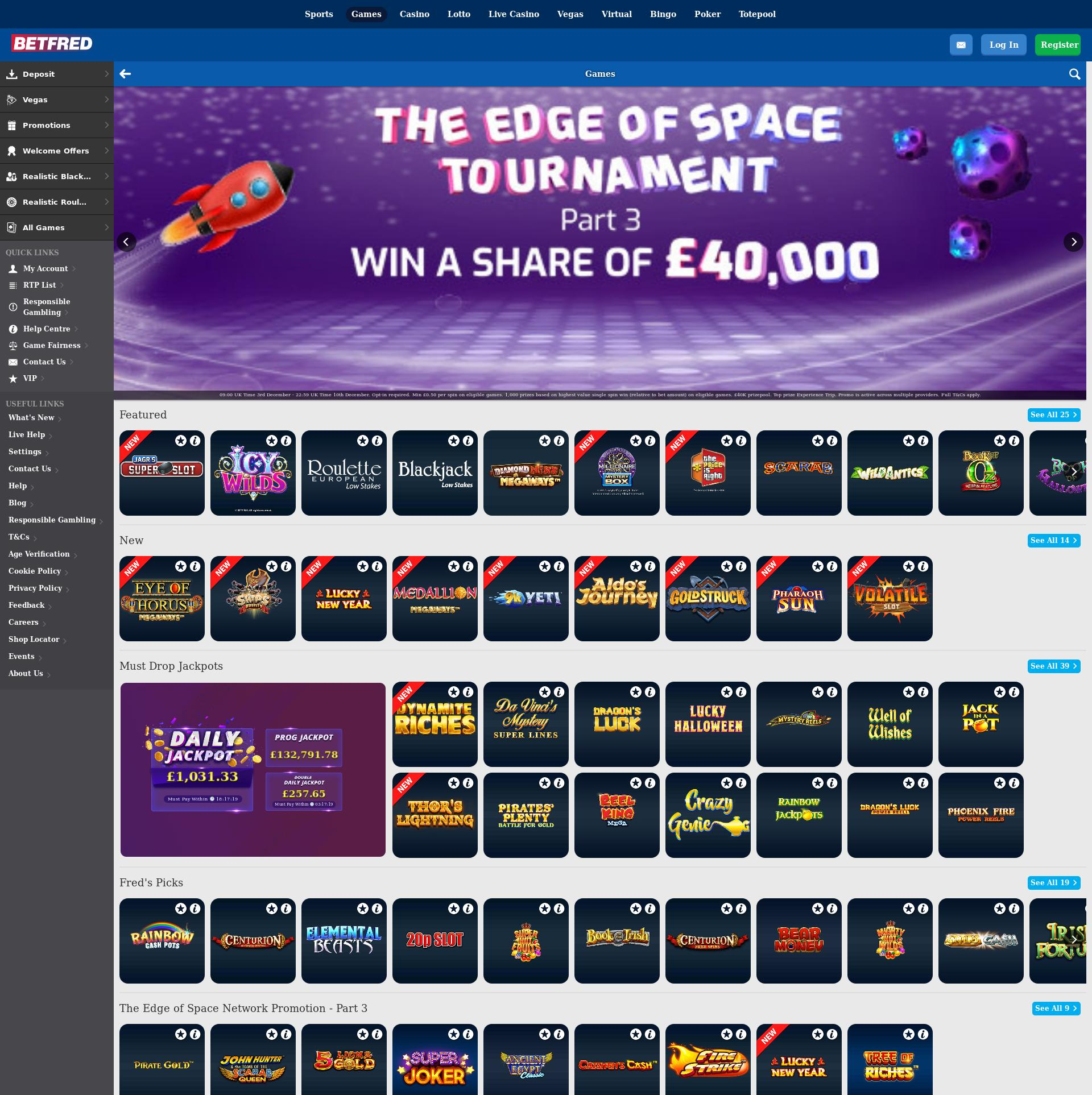 Casino screen Lobby 2019-12-04 for United Kingdom