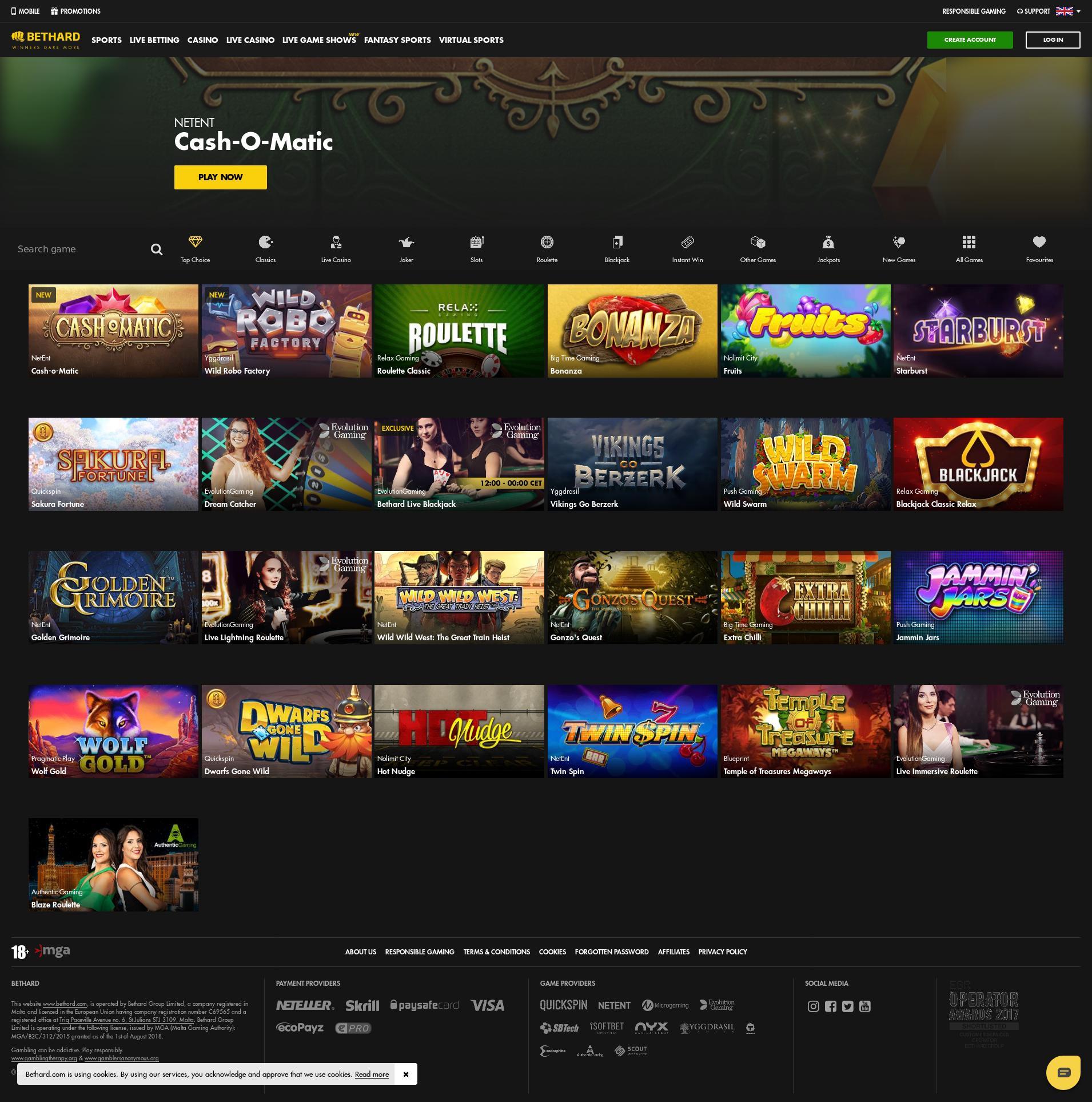 Casino skärm Lobby 2019-06-26 för Sverige