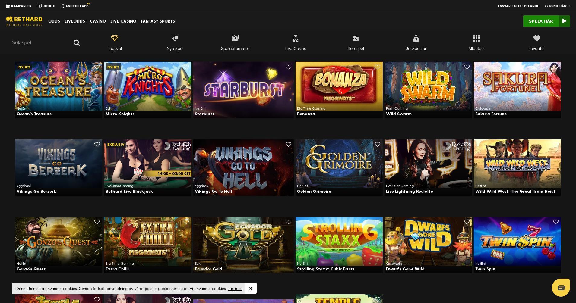 Casino skärm Lobby 2020-02-25 för Sverige