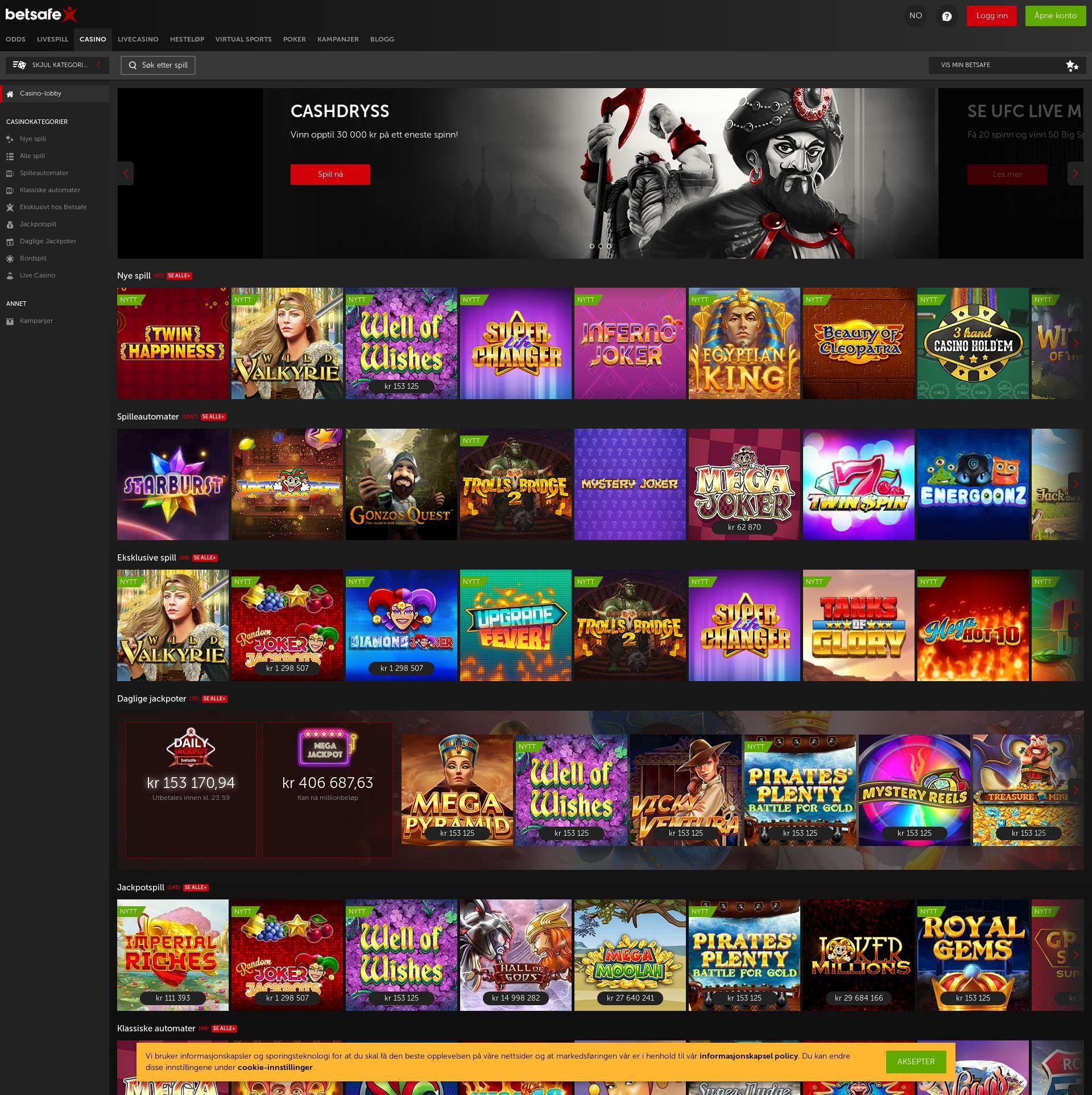 Casino screen Lobby 2019-09-15 for Norway