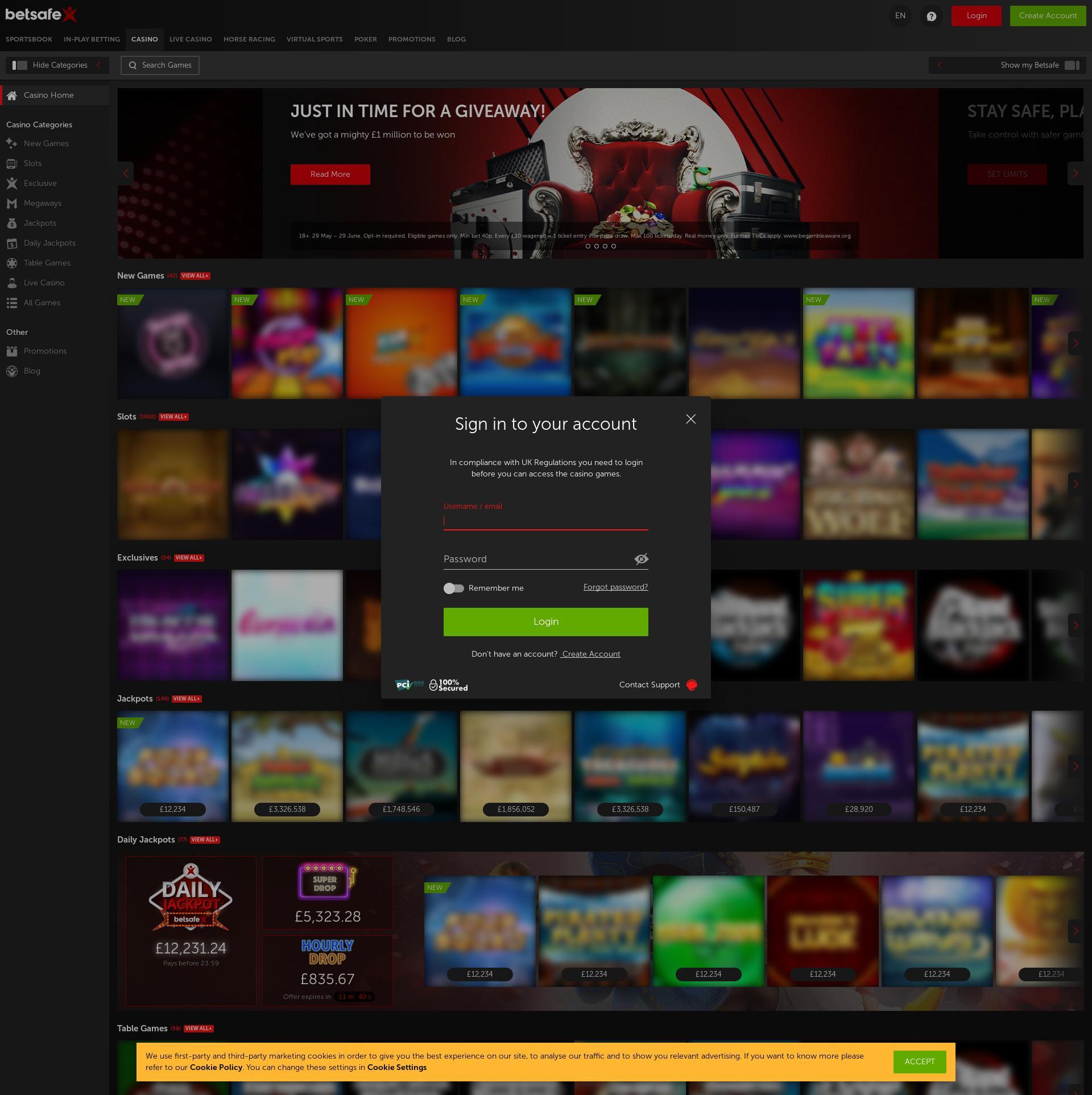 Casino skärm Lobby 2020-06-05 för Storbritannien