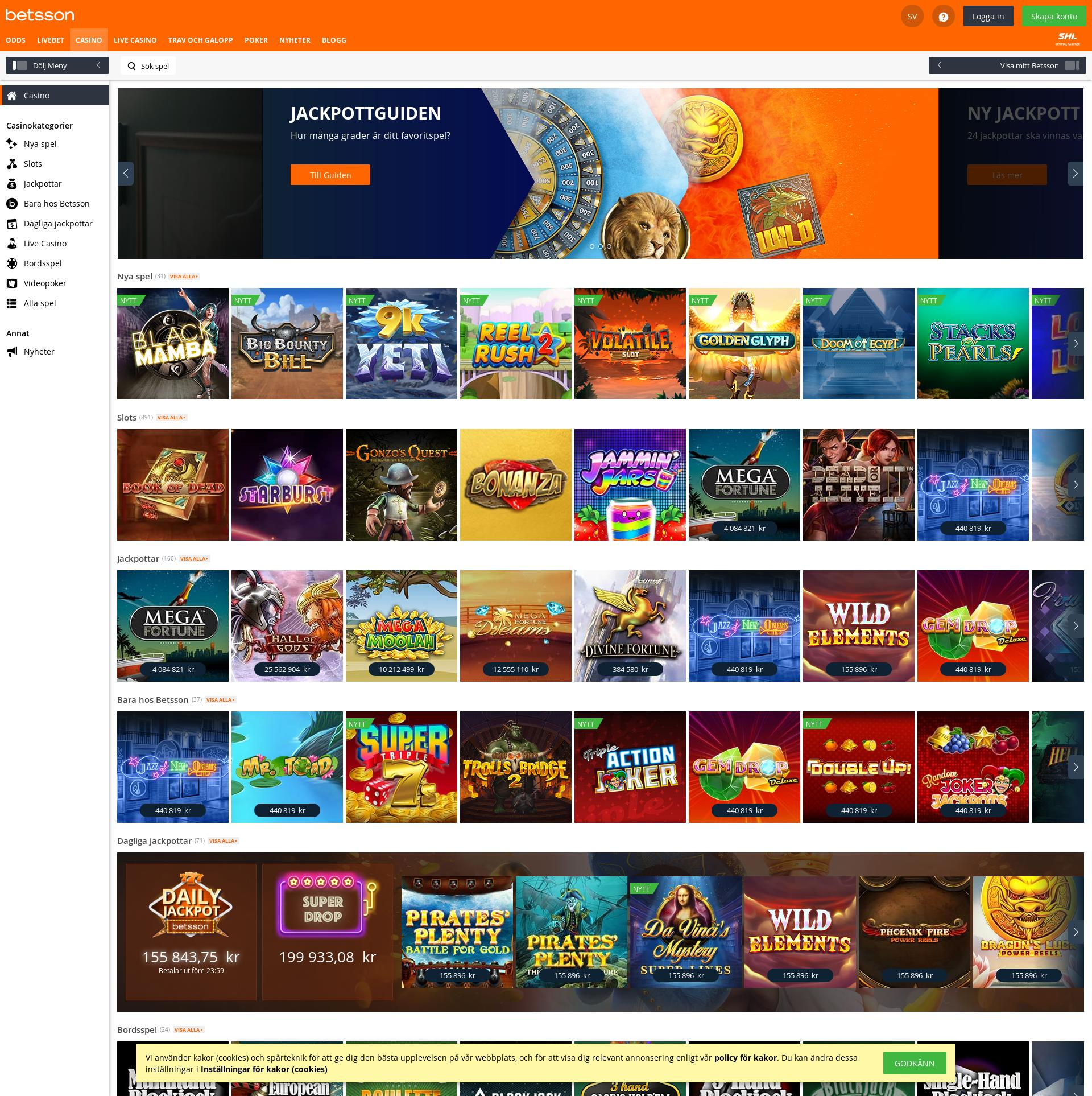 Casino screen Lobby 2019-11-17 for Sweden