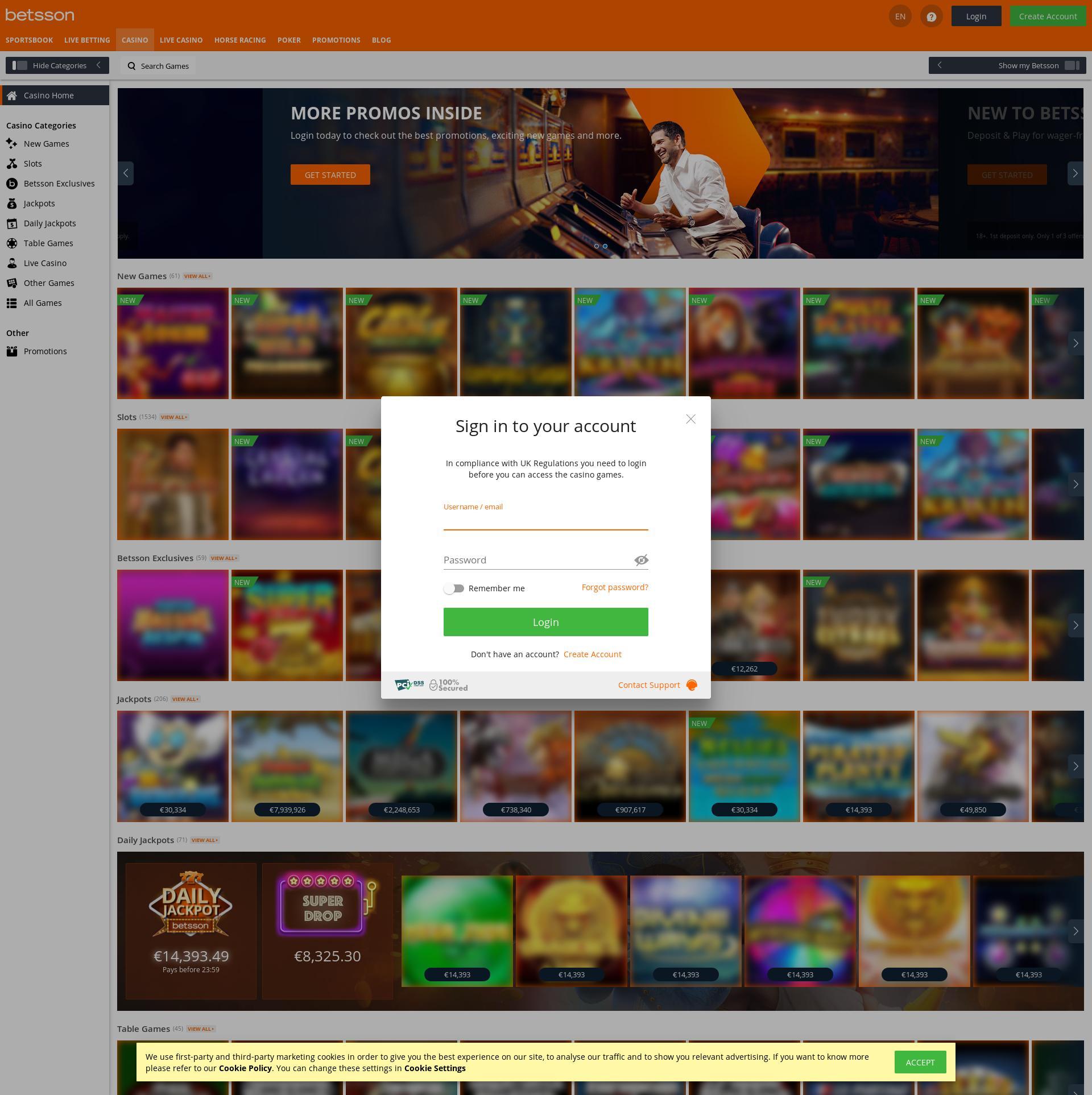 Casino screen Lobby 2020-02-15 for United Kingdom