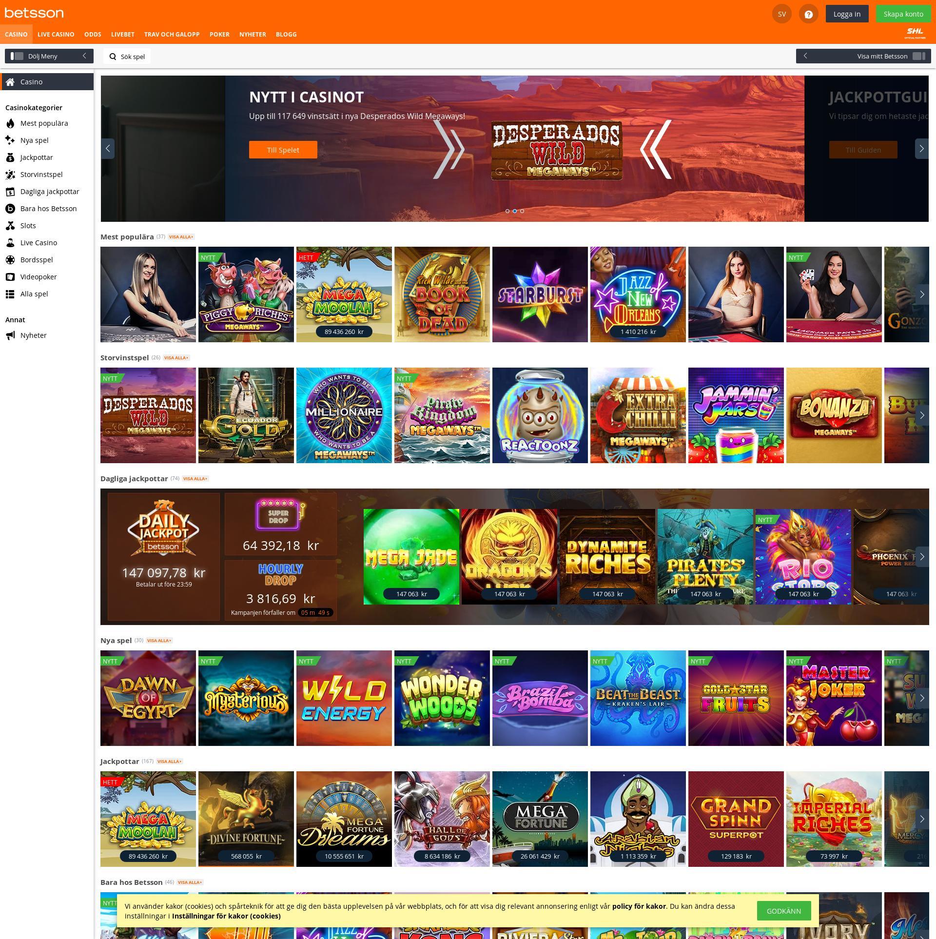 Casino skärm Lobby 2020-02-23 för Sverige