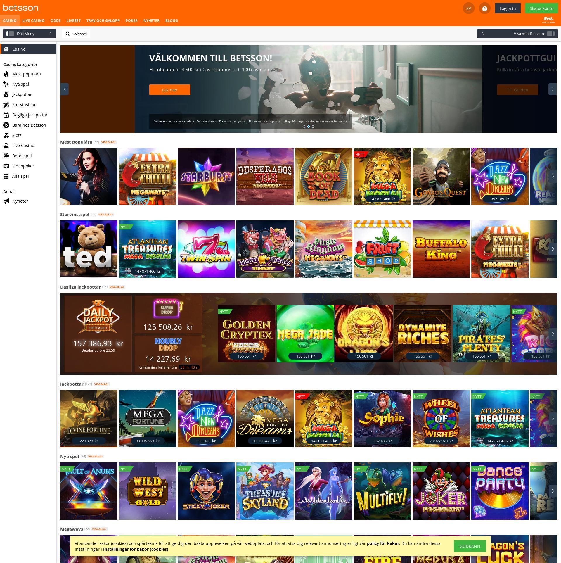 Casino skärm Lobby 2020-03-28 för Sverige