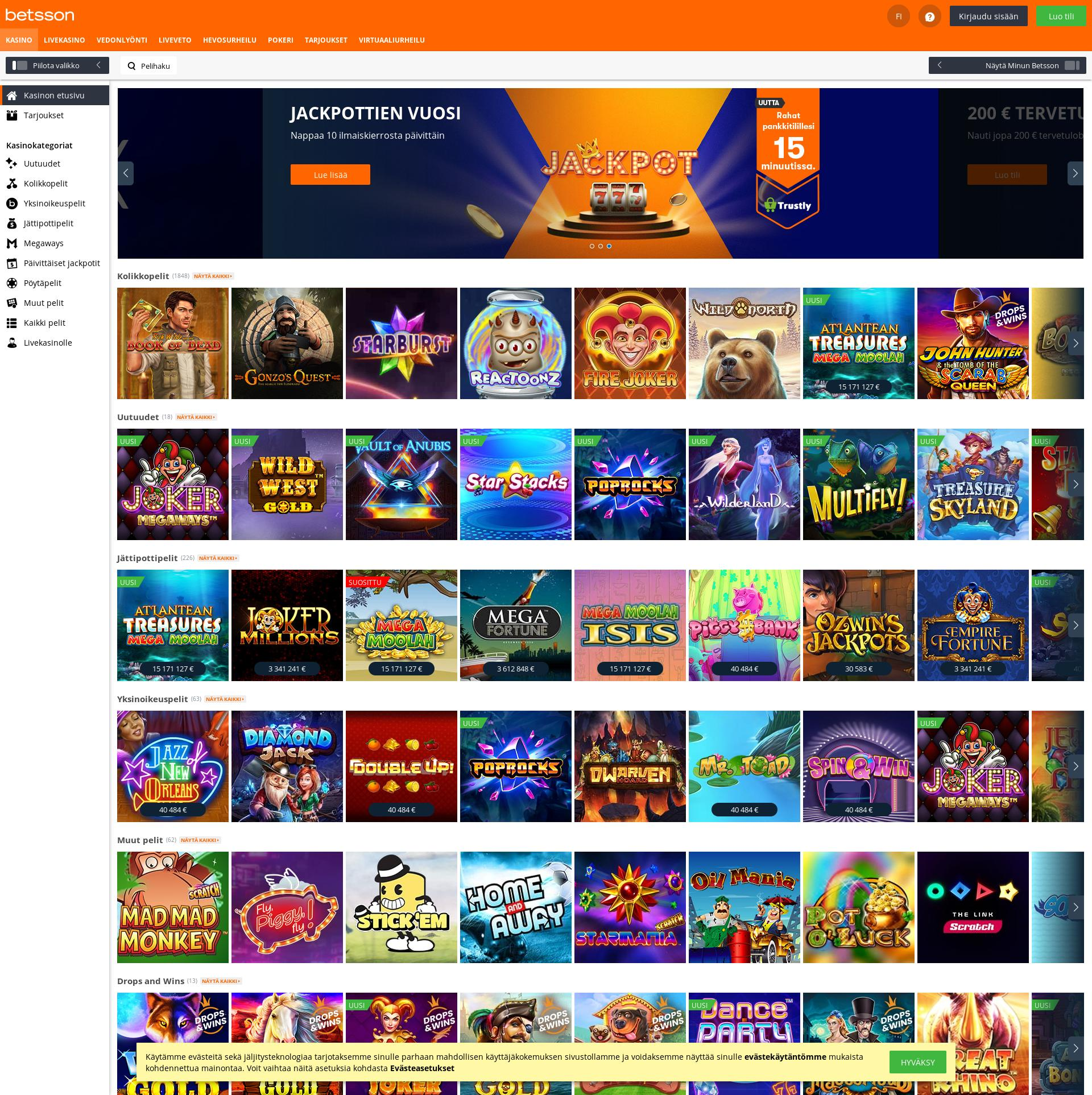 Casino-näyttö Lobby 2020-03-30 varten Suomi