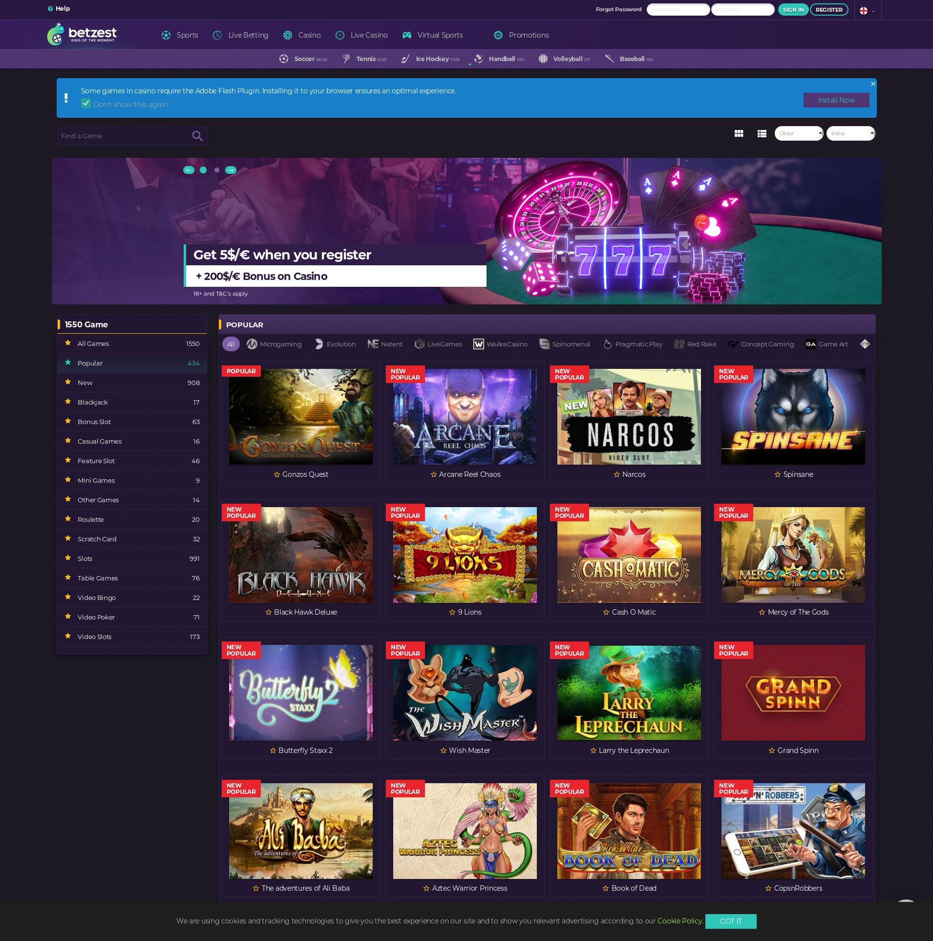 Casino screen Lobby 2019-09-19 for Germany