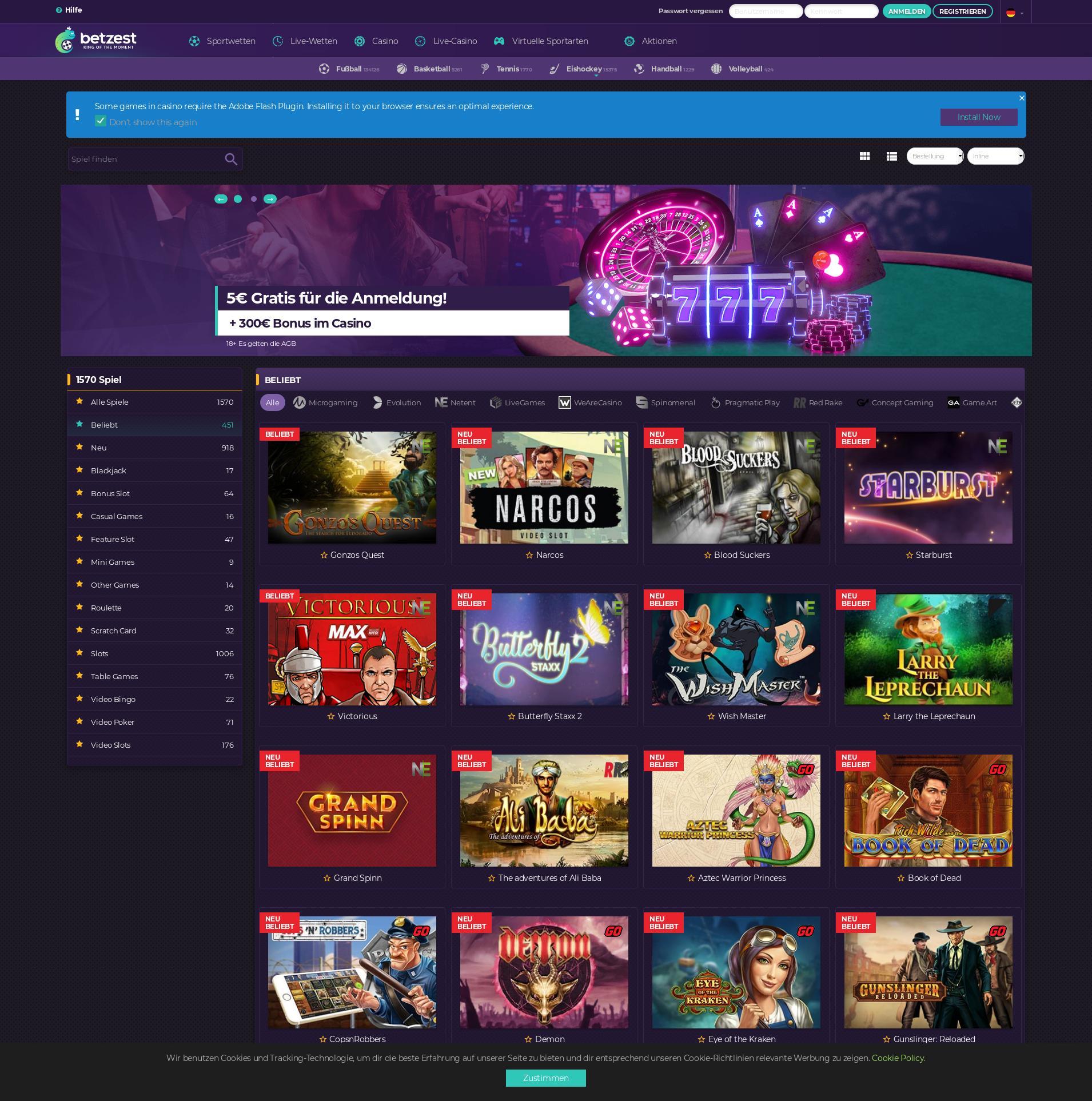 Casino Bildschirm Lobby 2019-10-18 zum Deutschland