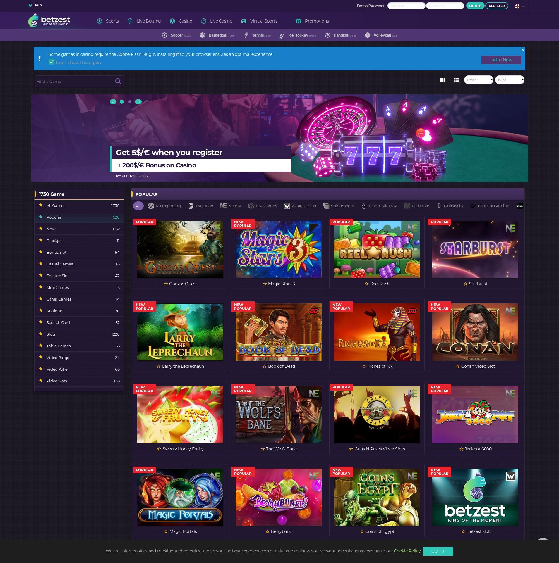 Casino screen Lobby 2019-11-13 for Germany