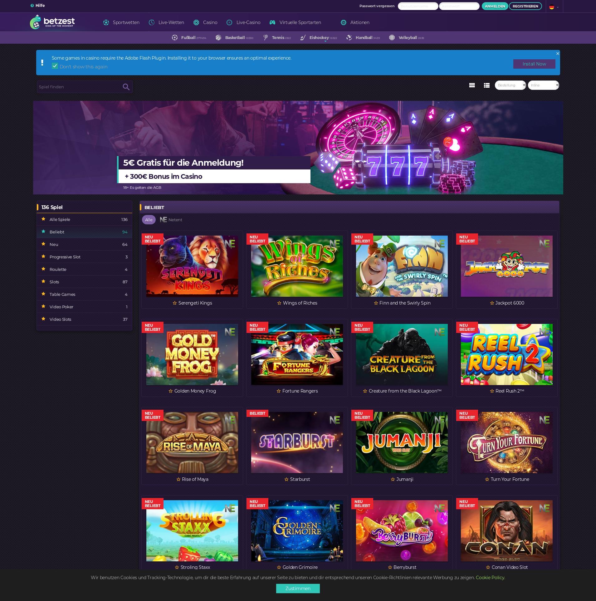 Casino screen Lobby 2020-02-15 for Germany