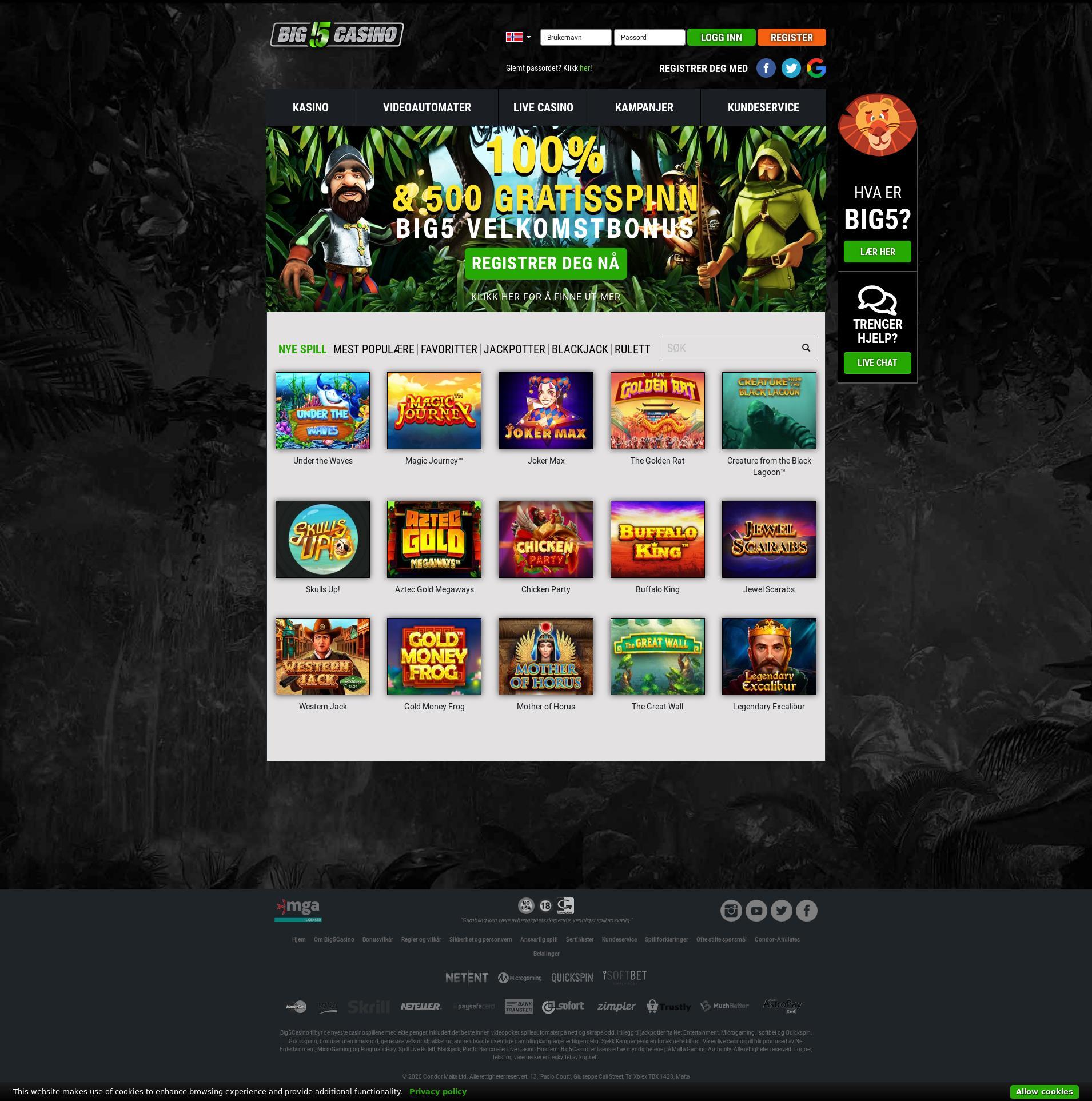 Casino skjerm Lobby 2020-01-20 til Norge