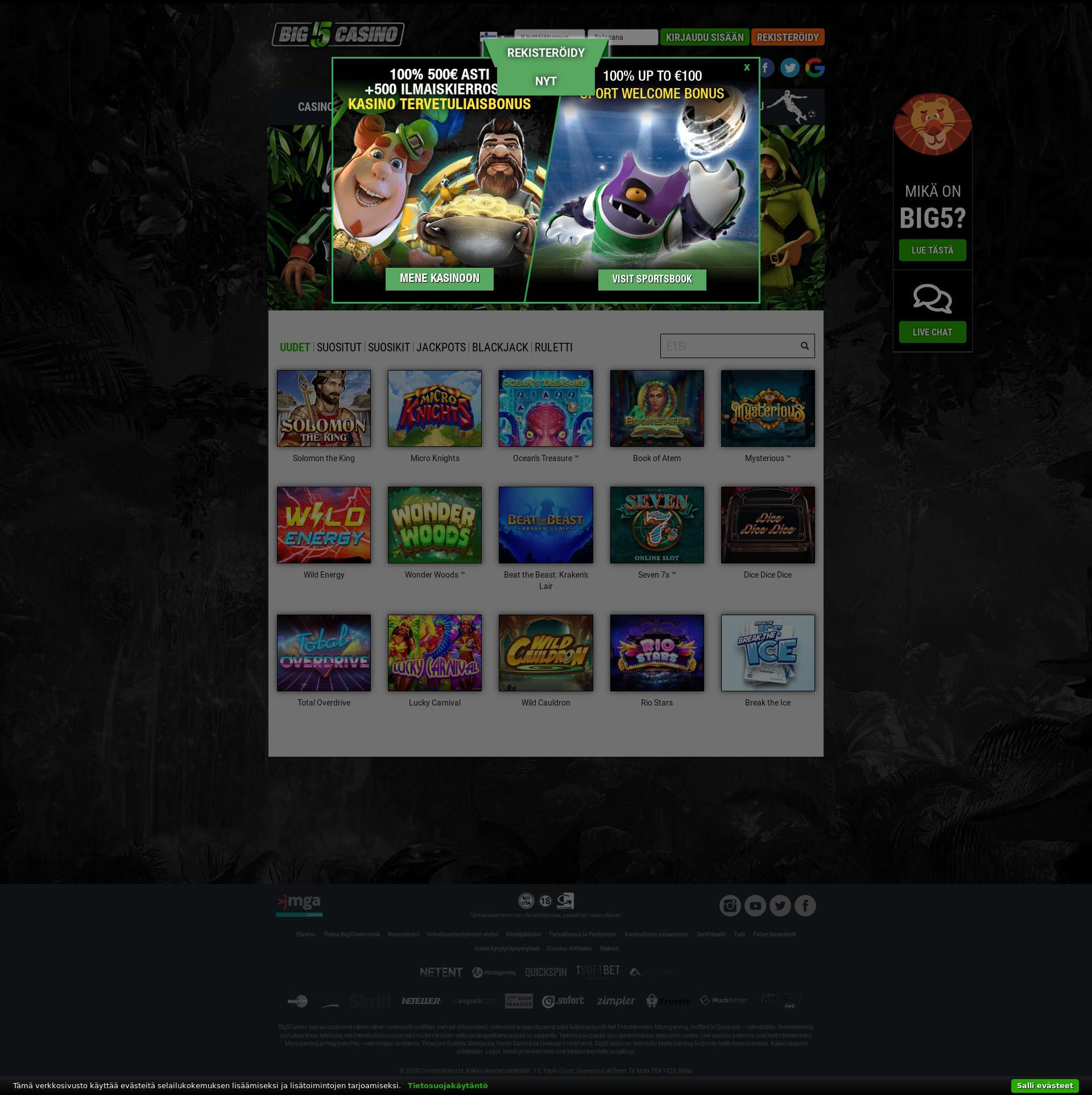 Casino screen Lobby 2020-02-25 for Finland