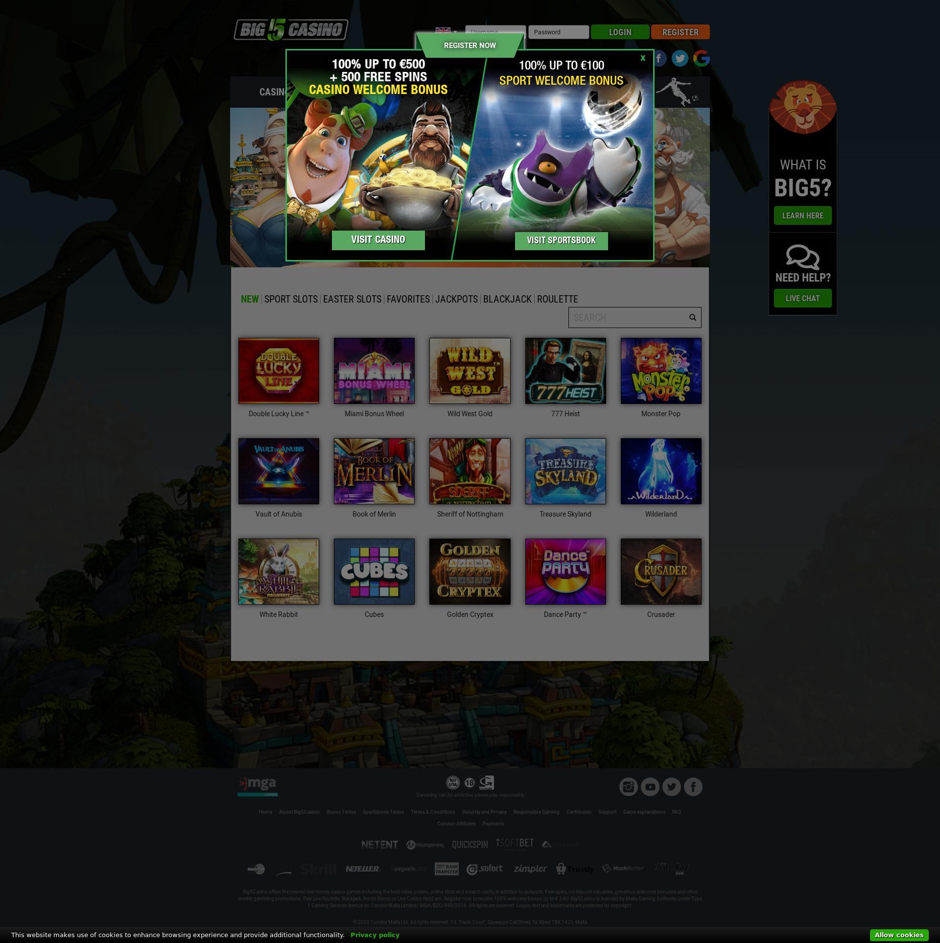 Casino scherm Lobby 2020-03-29 voor Nederland