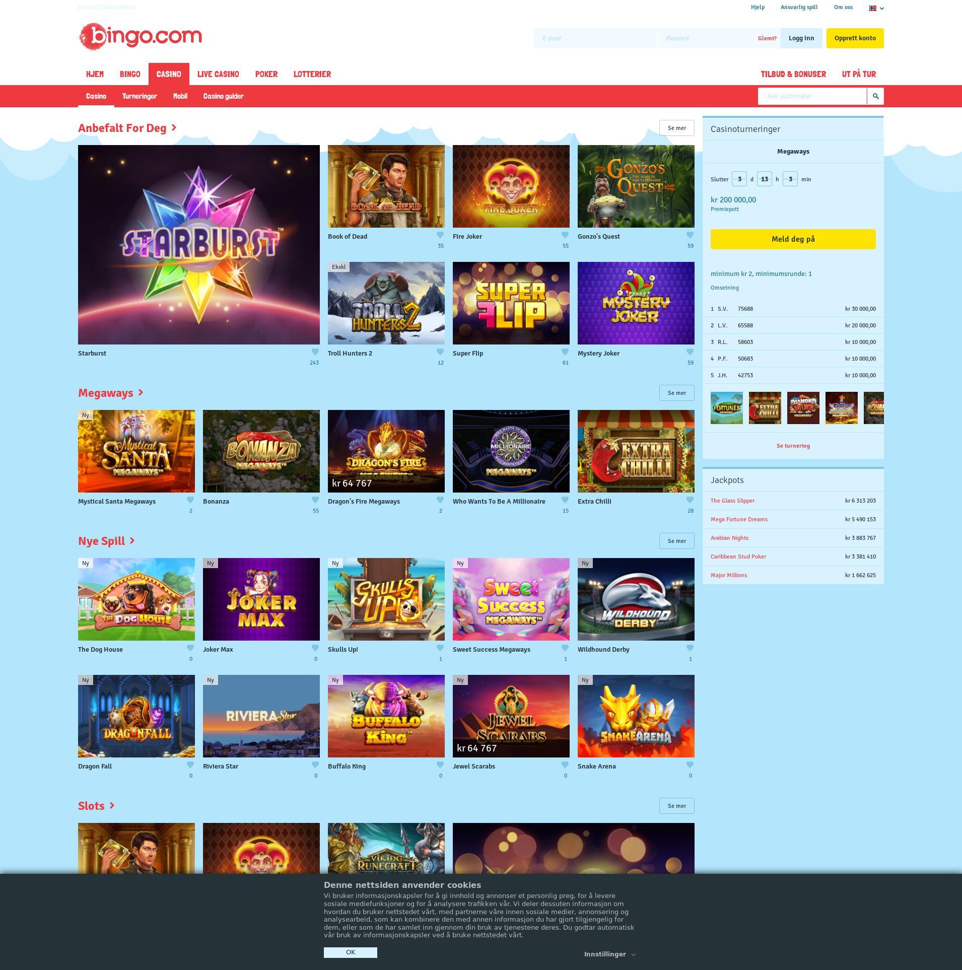 Casino skjerm Lobby 2020-01-17 til Norge