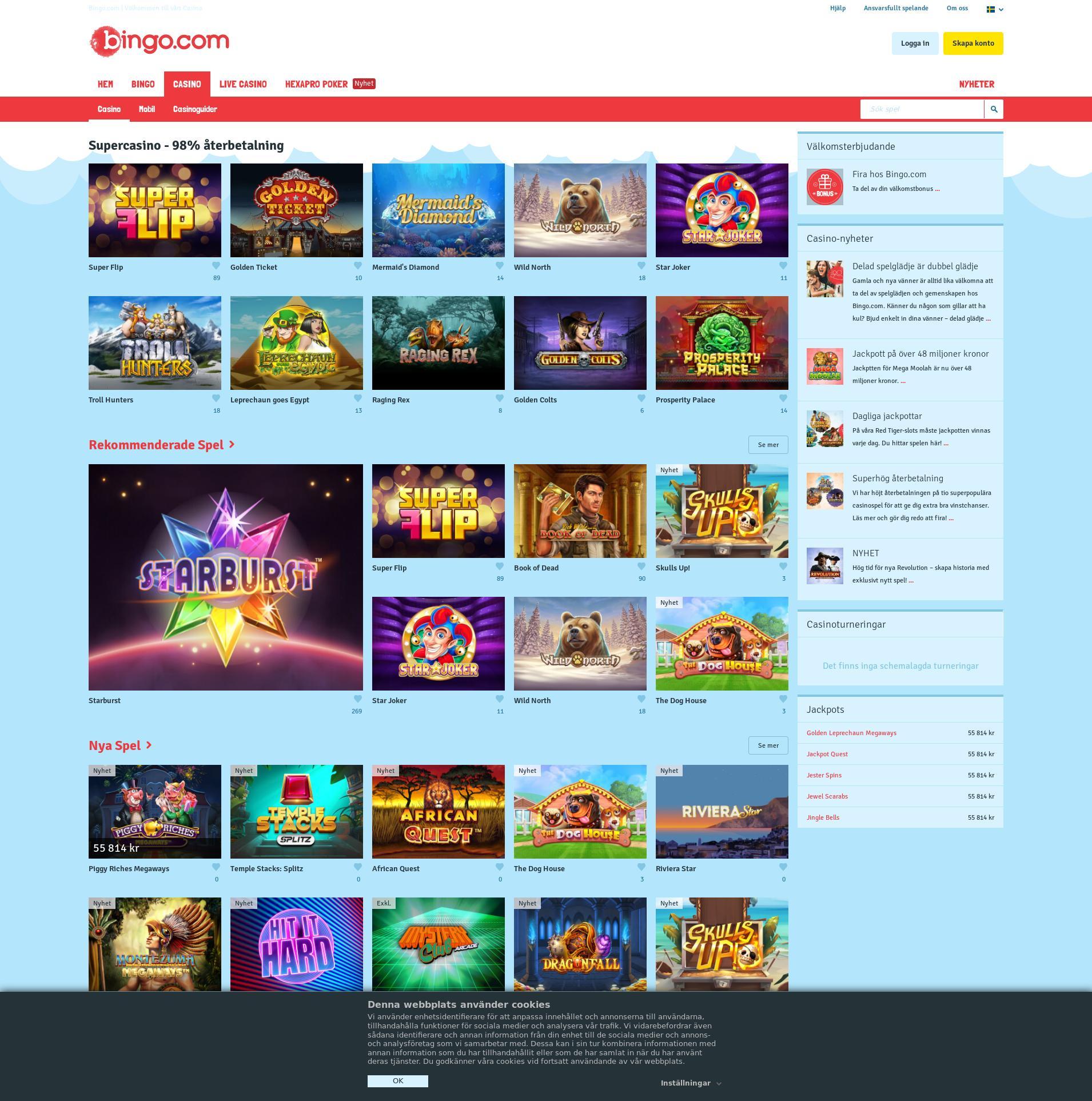 Casino skärm Lobby 2020-01-23 för Sverige