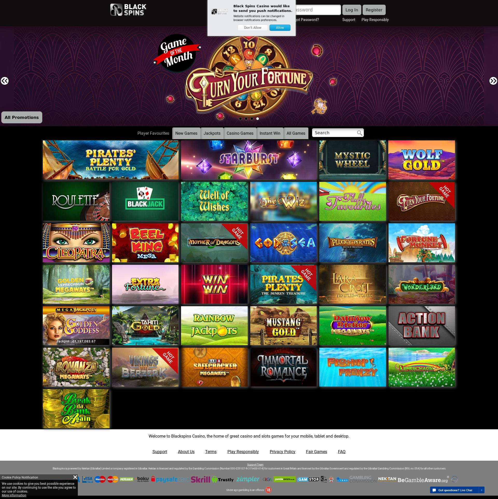 Casino screen Lobby 2019-09-16 for United Kingdom