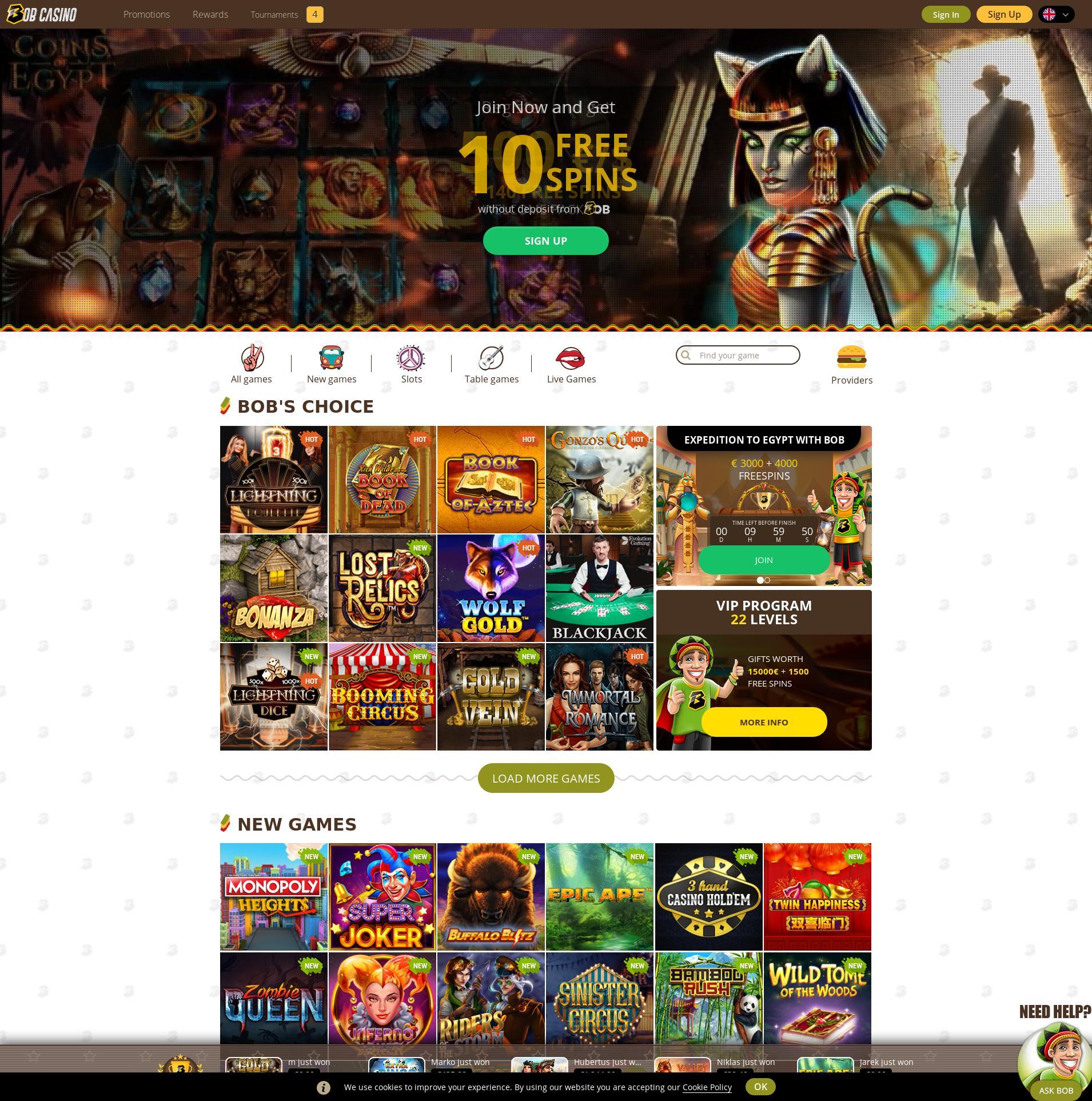 Casino scherm Lobby 2019-09-18 voor Nederland