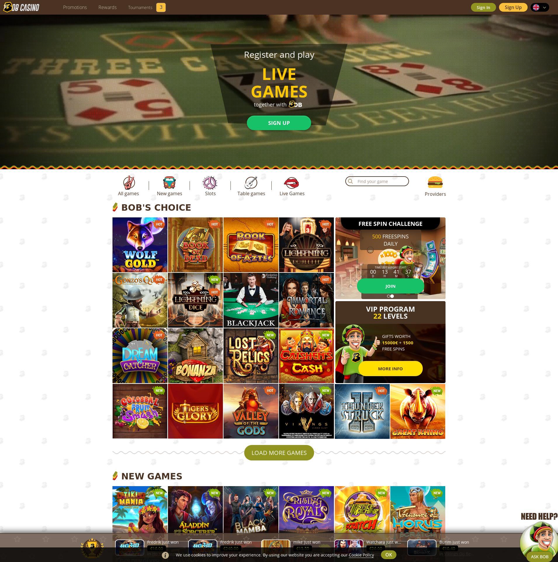 Casino scherm Lobby 2019-11-20 voor Nederland