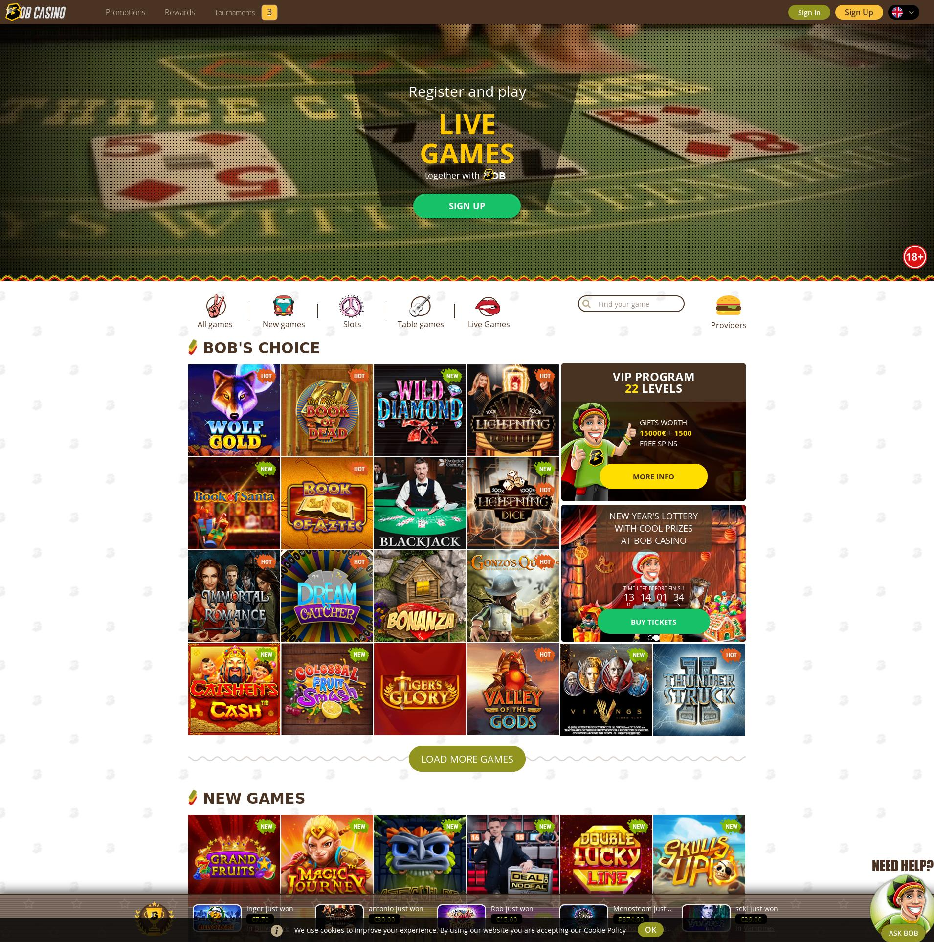 Casino scherm Lobby 2020-01-17 voor Nederland