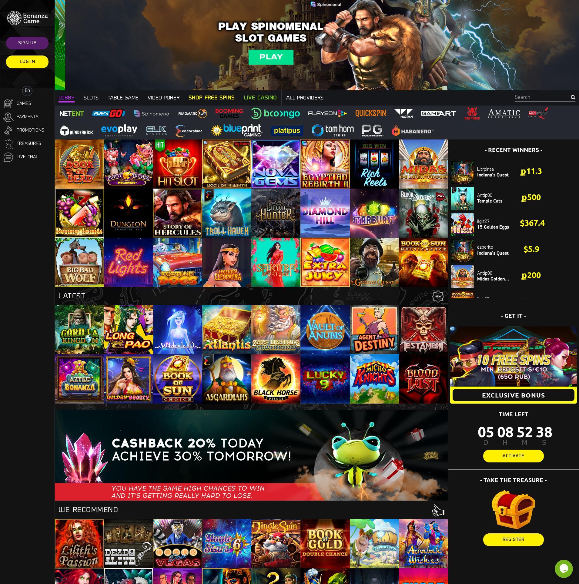 Casino skärm Lobby 2020-05-30 för Ryska Federationen
